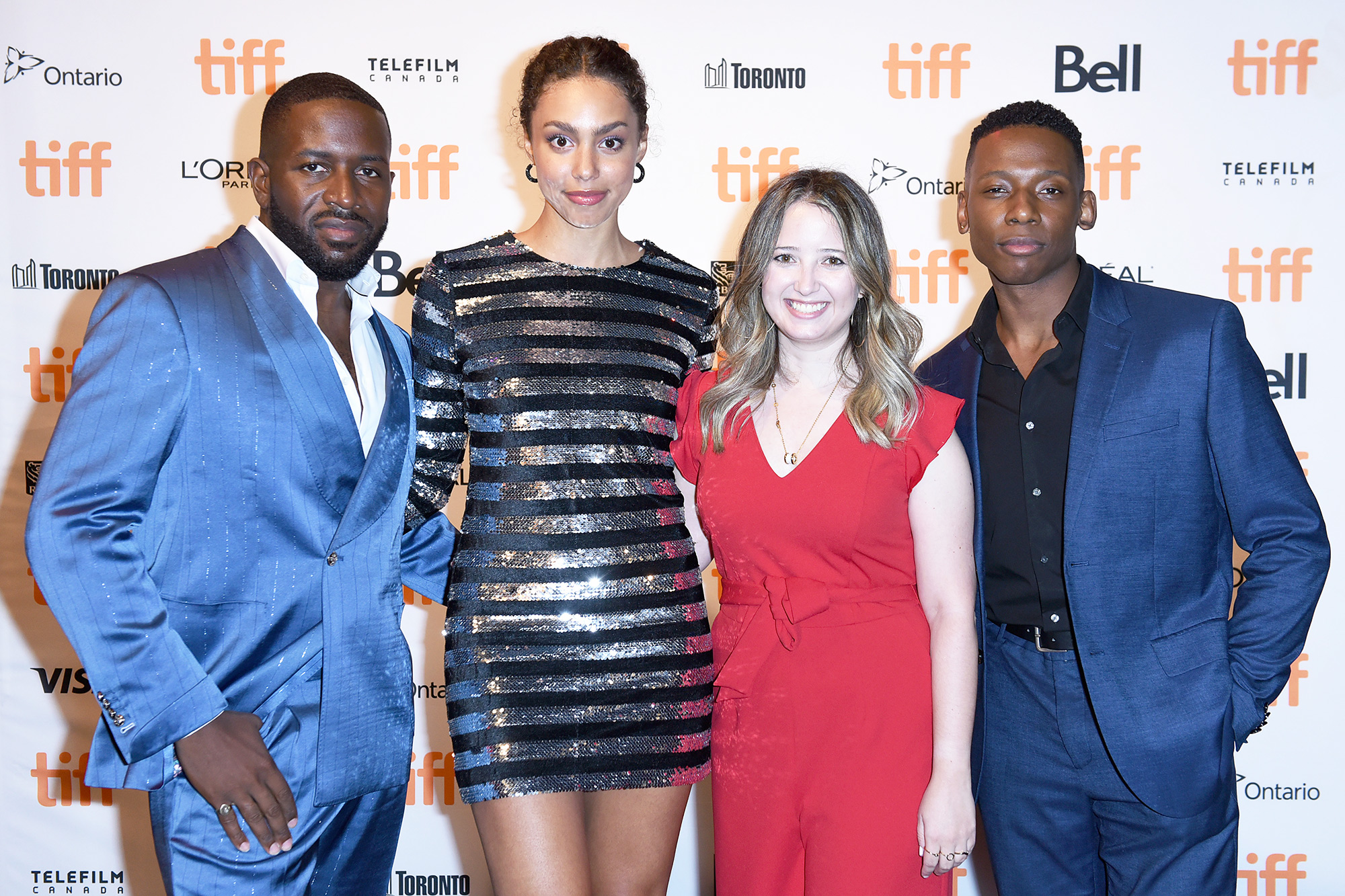 """(L-R) Thyrone Tommy, Emma Ferreira, Marni Van Dyk, and Thomas Antony Olajide attend the """"Learn To Swim"""" Photo Call during the 2021 Toronto International Film Festival at Cineplex Scotiabank Theatre on September 11, 2021 in Toronto, Ontario."""