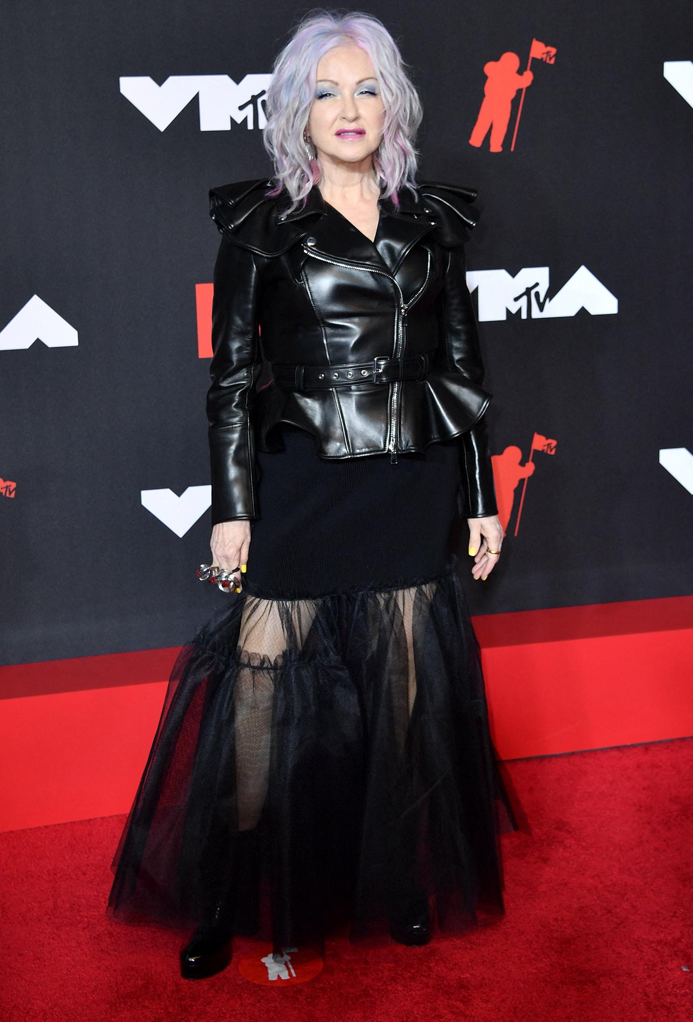 Cyndi Lauper arrives at the 2021 MTV Video Music Awards