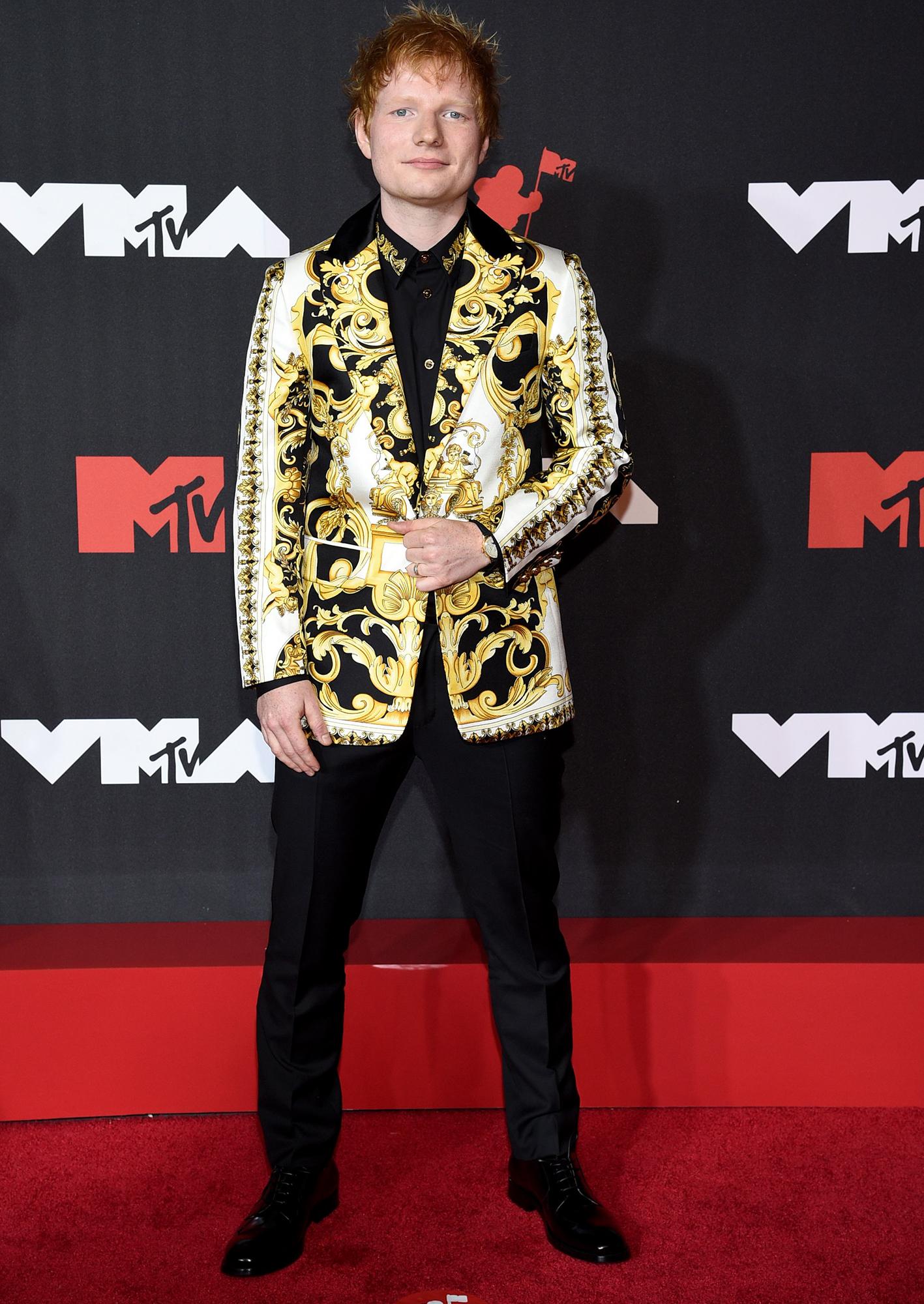 Ed Sheeran arrives at the 2021 MTV Video Music Awards