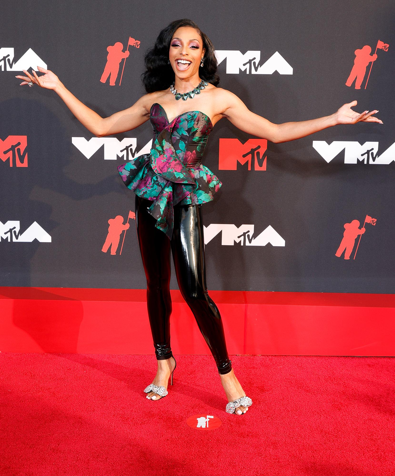 Jamila Mustafa arrives at the 2021 MTV Video Music Awards