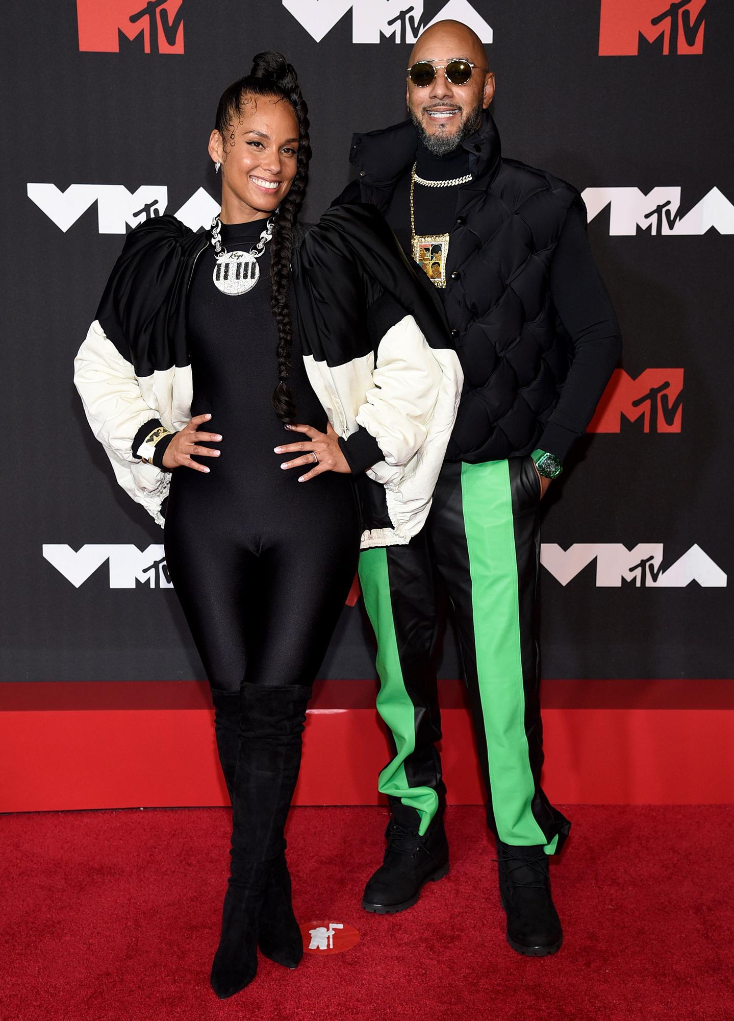 Alicia Keys and Swizz Beatz arrives at the 2021 MTV Video Music Awards