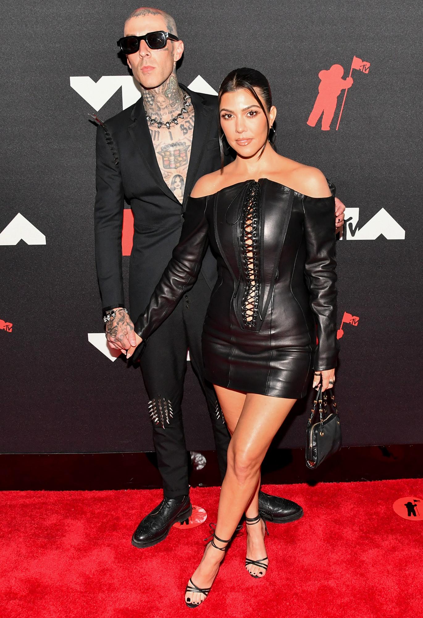 Travis Barker and Kourtney Kardashian arrive at the 2021 MTV Video Music Awards
