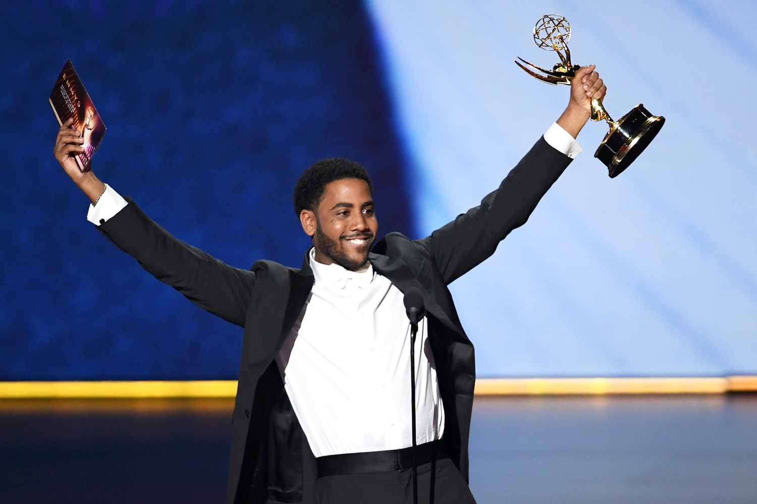 Jharrel Jerome accepts the Outstanding Lead Actor in a Limited Series or Movie award for 'When They See Us' onstage during the 71st Emmy Awards