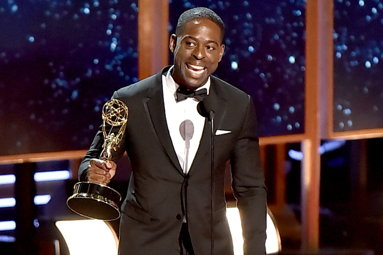 Sterling K. Brown accepts the Outstanding Lead Actor in a Drama Series award for 'This Is Us' onstage during the 69th Annual Primetime Emmy Awards