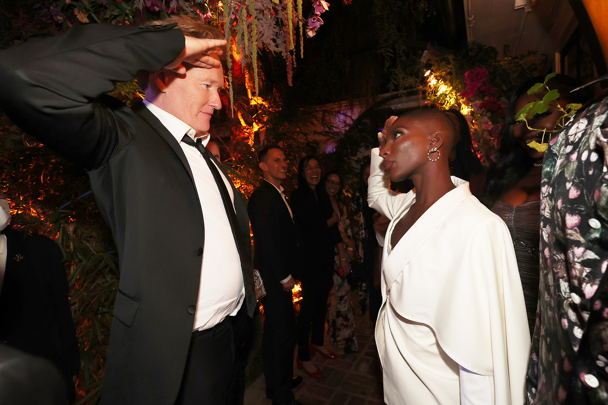 Conan O'Brien and Michaela Coel attend the HBO/ HBO Max Post Emmys Reception at San Vicente Bungalows on September 19, 2021