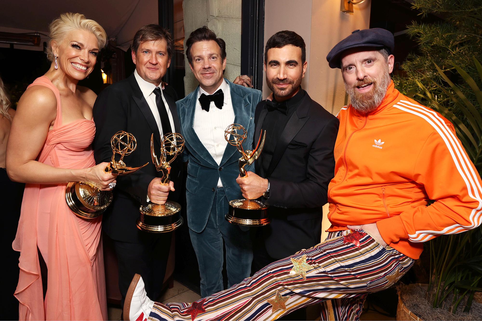Ted Lasso Emmy Awards Party Hannah Waddingham, Bill Lawrence, Jason Sudeikis, Brett Goldstein, Brendan Hunt