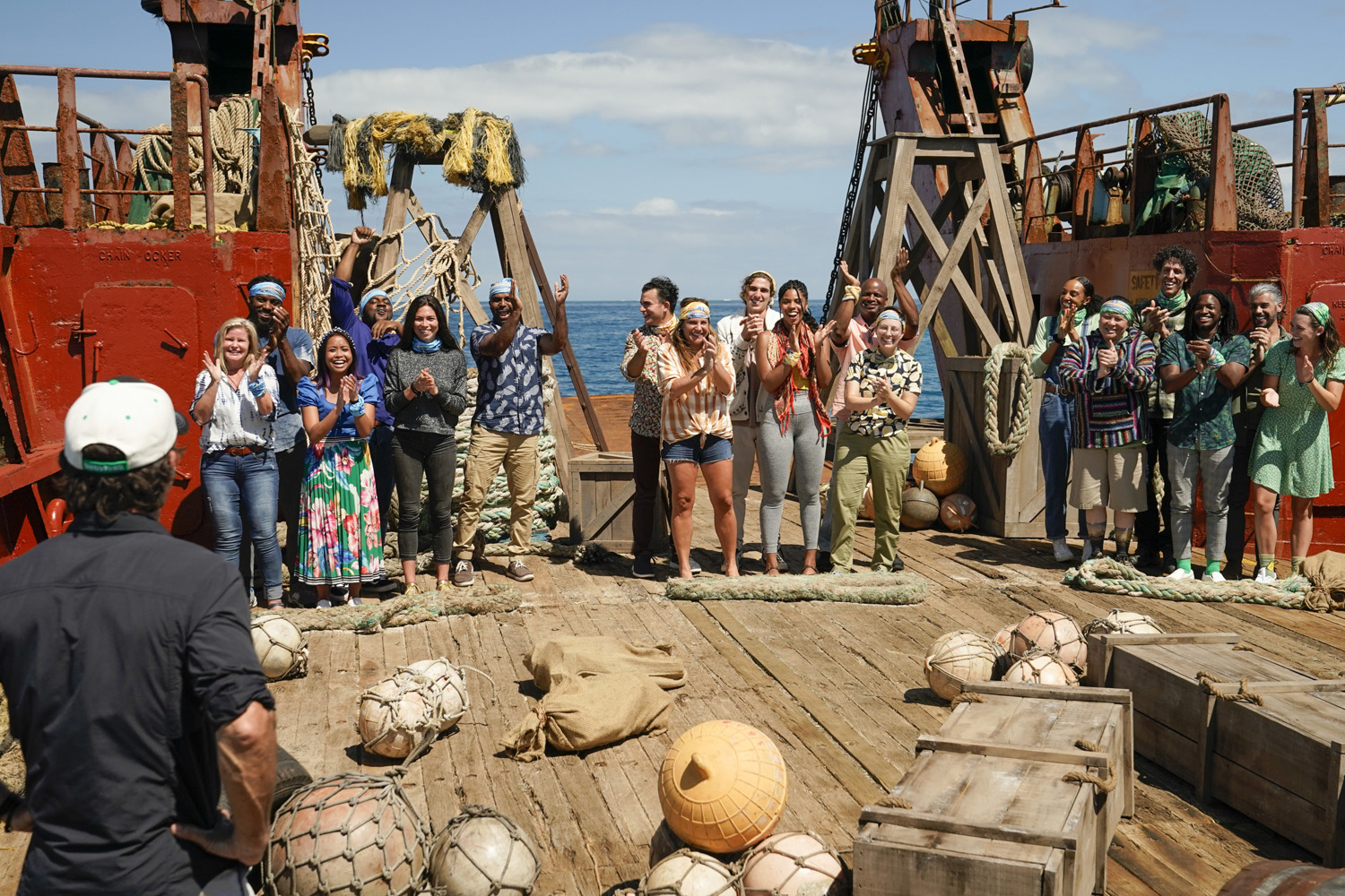 The three tribes get ready to compete on SURVIVOR