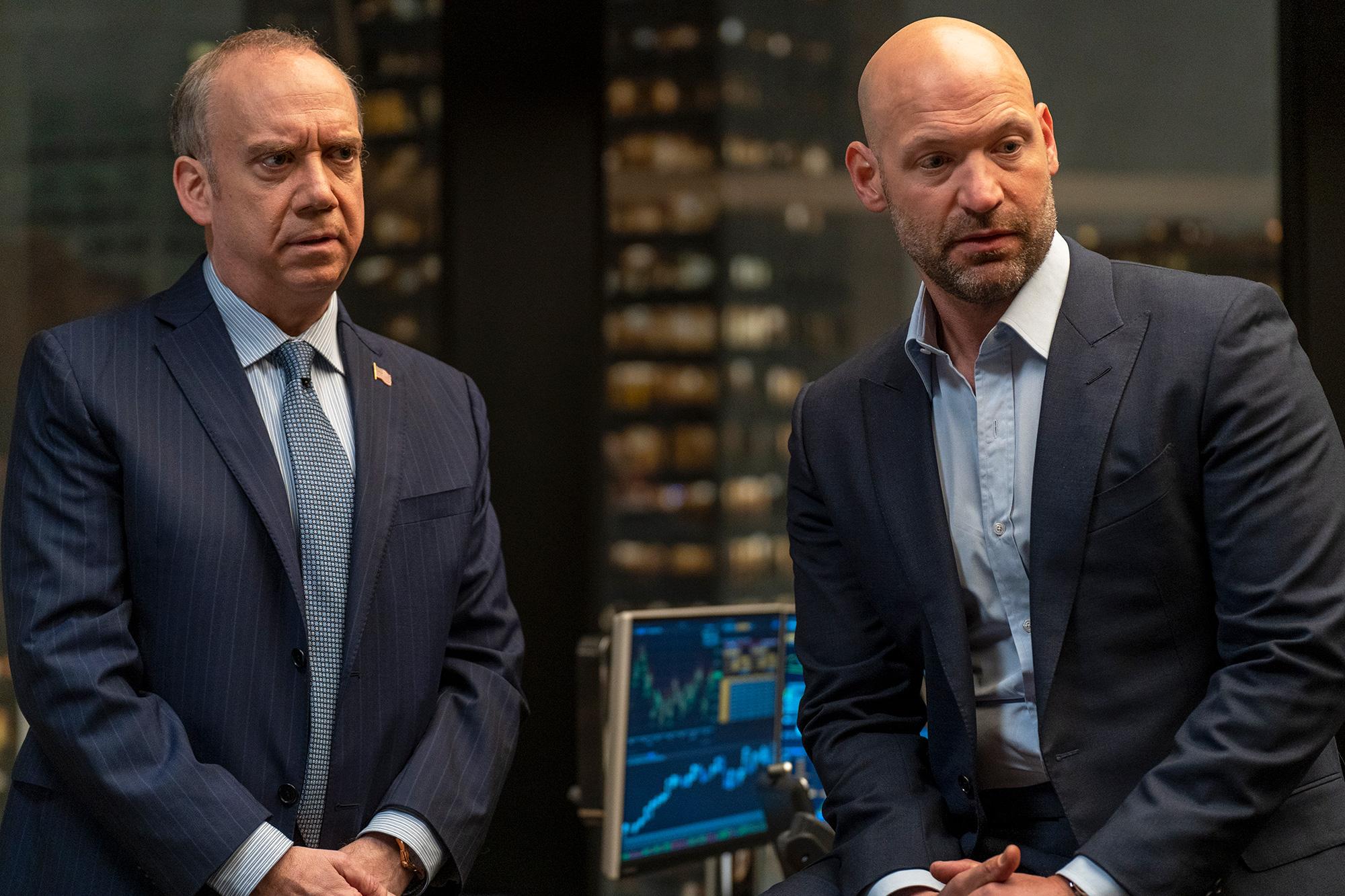 "(L-R): Paul Giamatti as Chuck Rhoades and Corey Stoll as Michael Prince in BILLIONS ""Victory Smoke""."