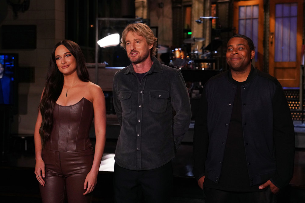 'Saturday Night Live' musical guest Kasey Musgraves, host Owen Wilson, and cast member Kenan Thompson