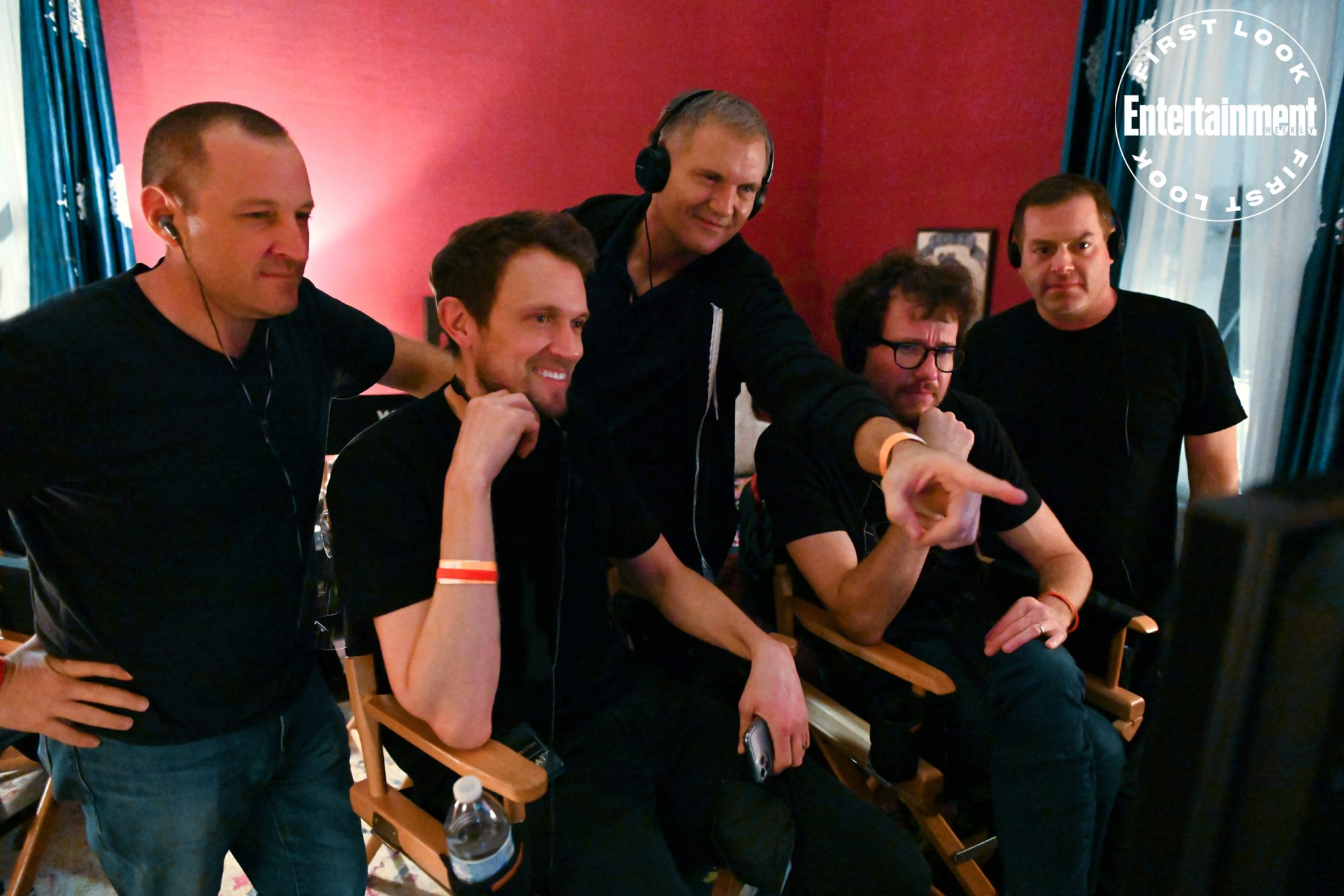 """Producer William Sherak, Director Matt Bettinelli-Olpin, Executive Producer Kevin Williamson, Director Tyler Gillett and Executive Producer Chad Villella on the set of Paramount Pictures and Spyglass Media Group's """"Scream."""