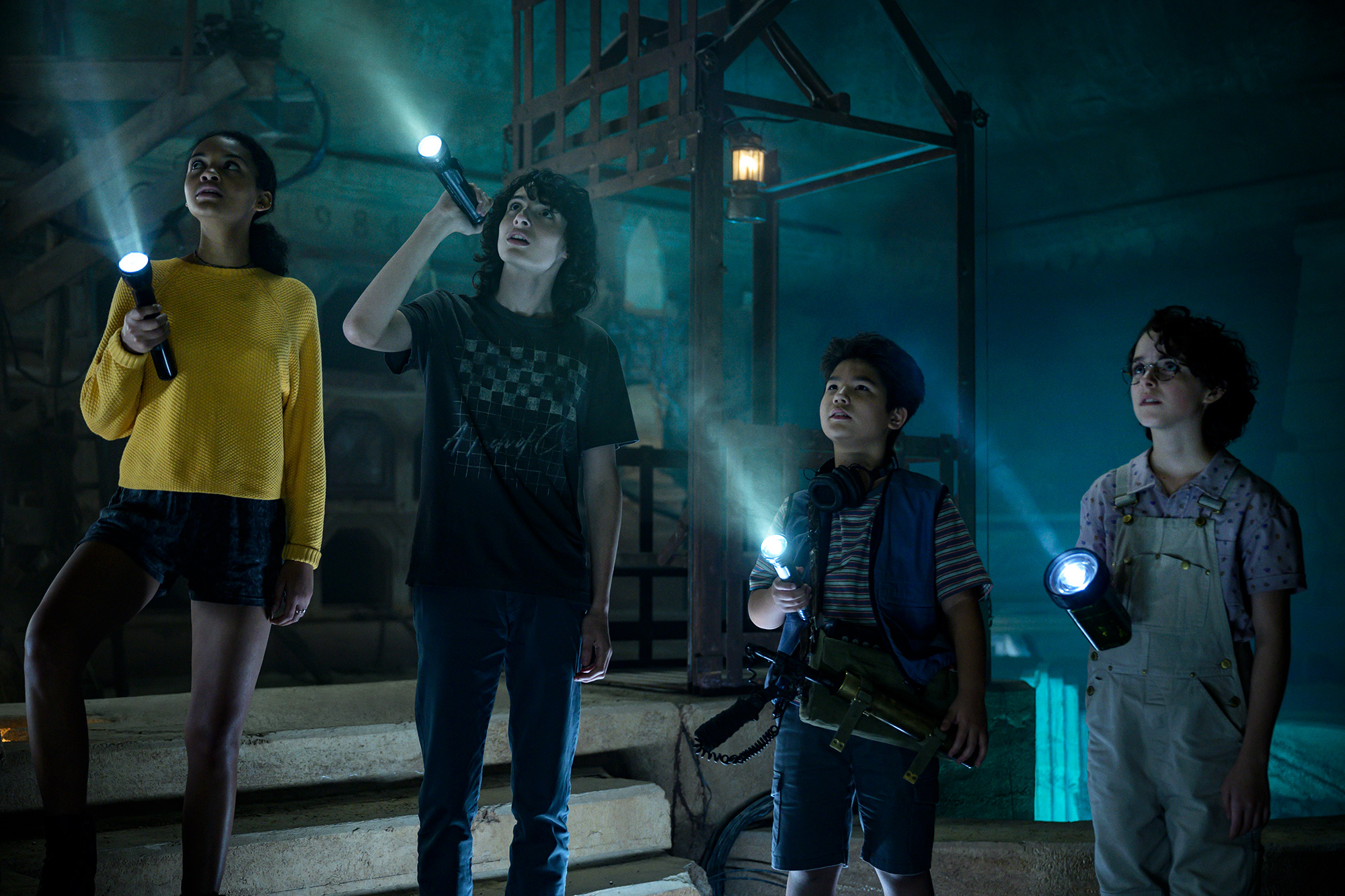 Lucky (Celeste O'Connor), Trevor (Finn Wolfhard), Podcat (Logan Kim) and Phoebe (McKenna Grace) in Columbia Pictures' GHOSTBUSTERS: AFTERLIFE.