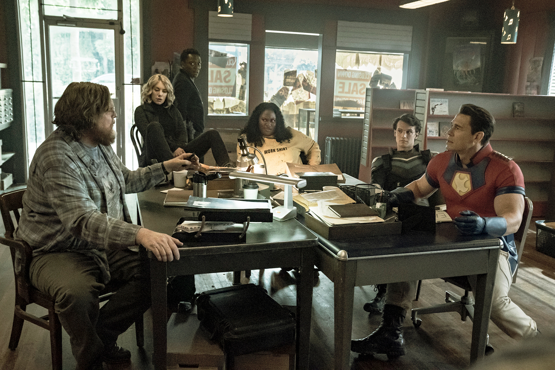 Economos (Steve Agee), Harcourt (Jennifer Holland), Murn (Chukwudi Iwuji), Adebayo (Danielle Brooks), Vigilante (Freddie Stroma), Peacemaker (John Cena)