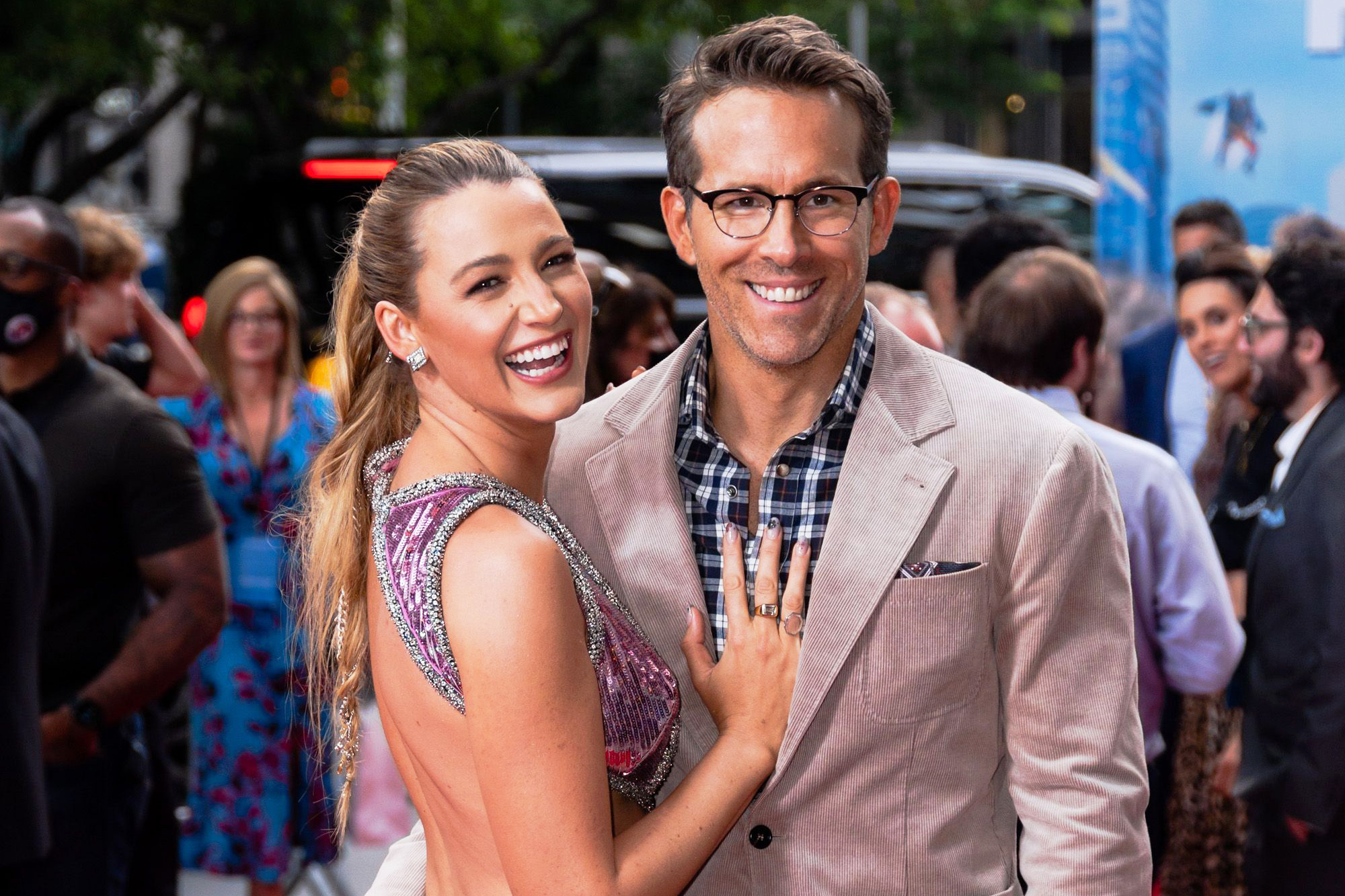 """Blake Lively (L) and Ryan Reynolds attend the """"Free Guy"""" New York premiere at AMC Lincoln Square Theater in the Upper West Side on August 03, 2021 in New York City."""