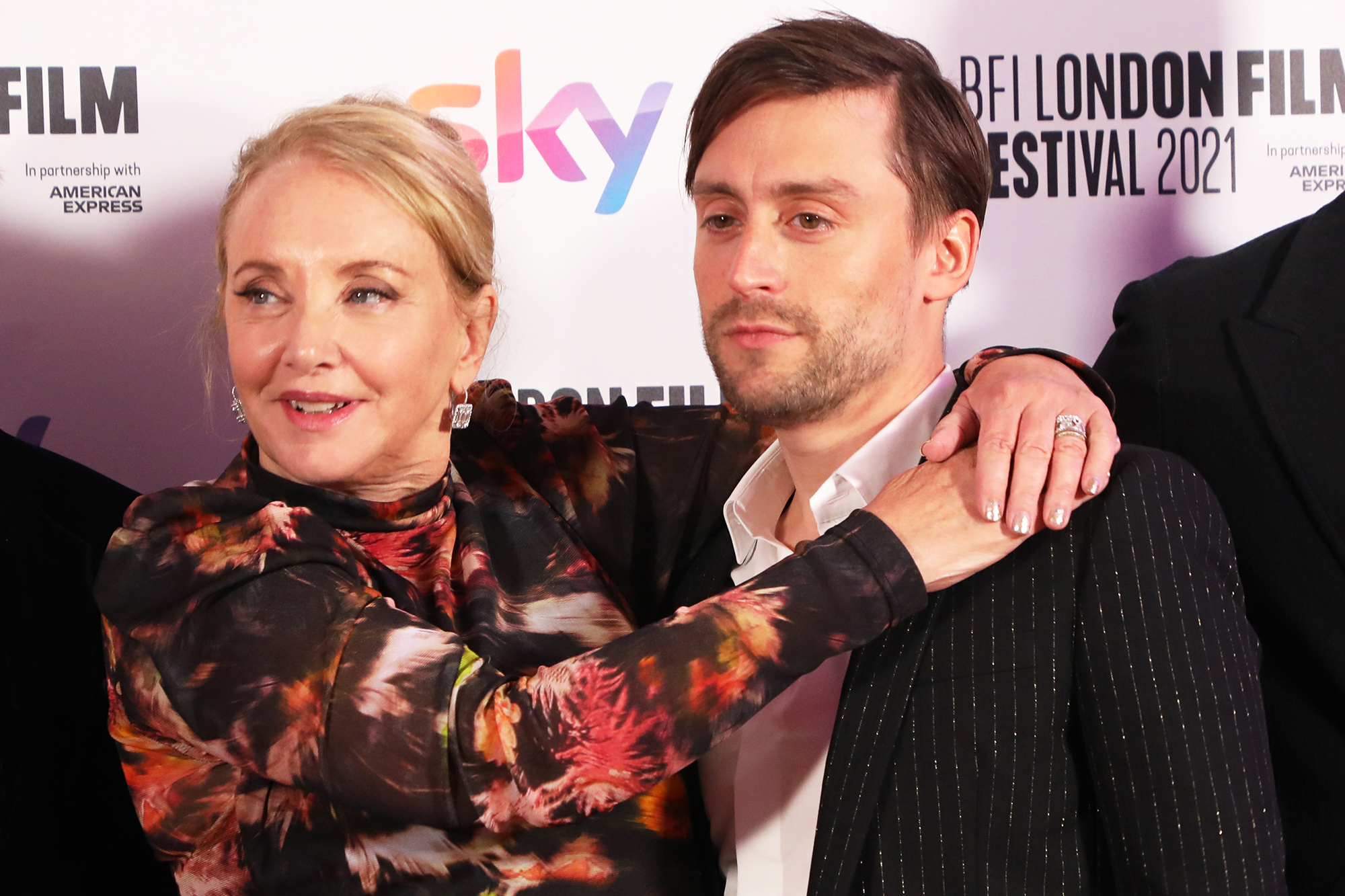 """J. Smith Cameron and Kieran Culkin attend the """"Succession"""" European Premiere during the 65th BFI London Film Festival at The Royal Festival Hall on October 15, 2021 in London, England."""