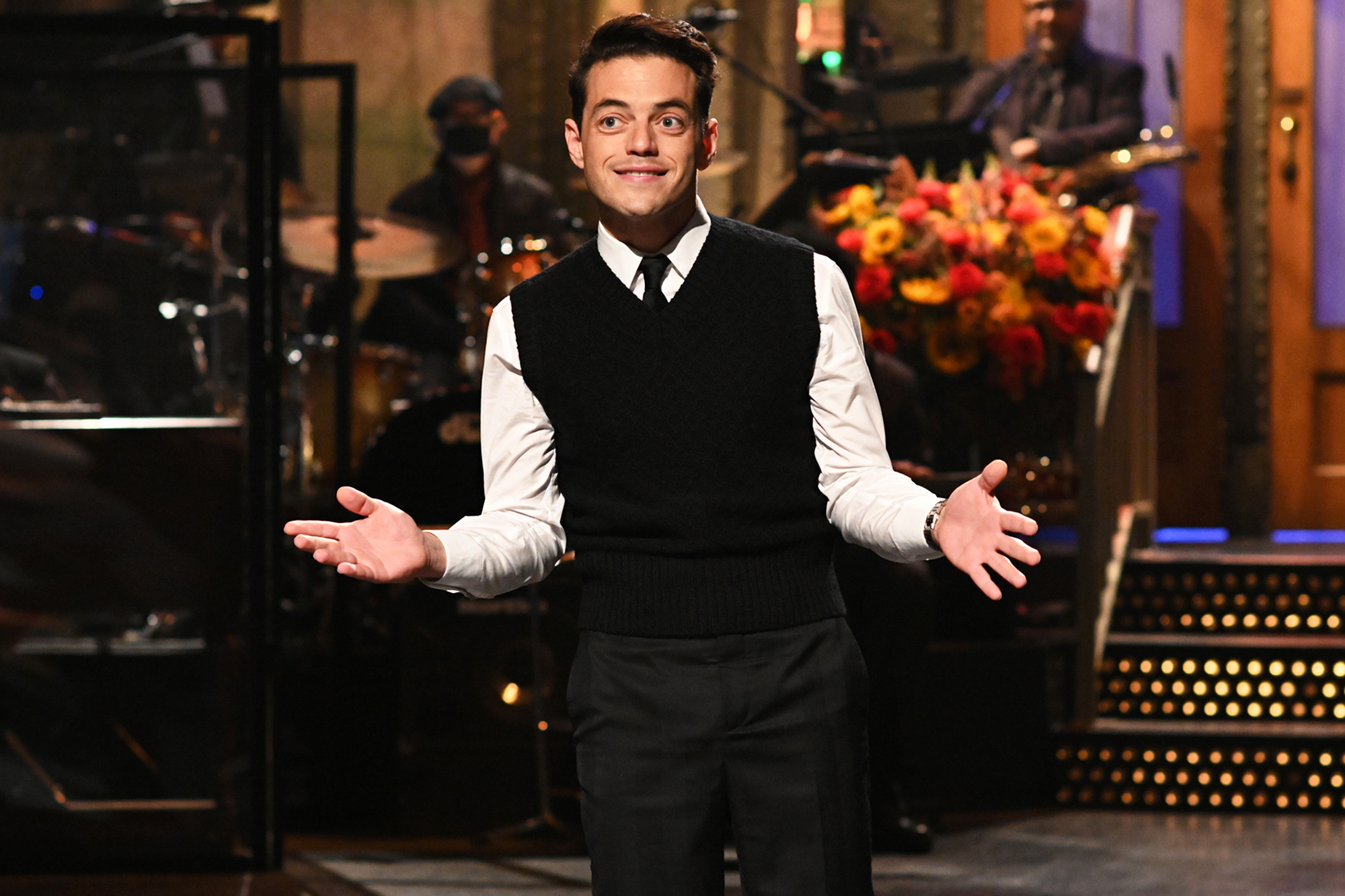 SATURDAY NIGHT LIVE Rami Malek Episode 1808 Pictured: Host Rami Malek during the monologue on Saturday, October 16, 2021.