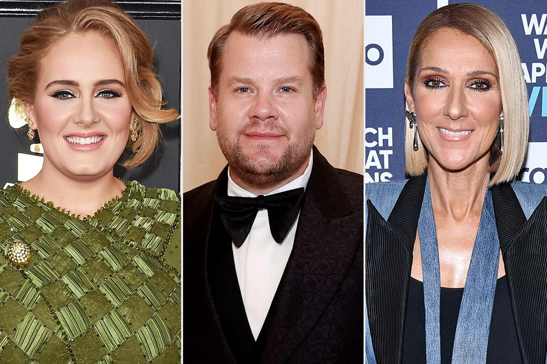 Adele, James Corden and Celine Dion