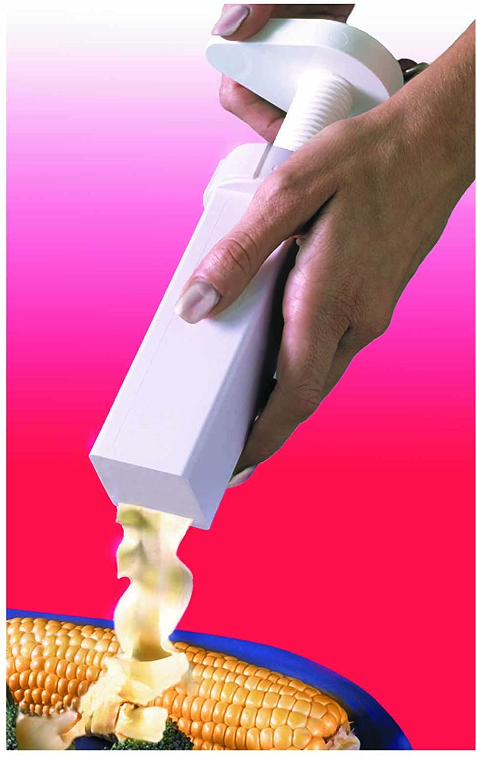 Max Space Butter Mill Butter Dispenser being used on corn