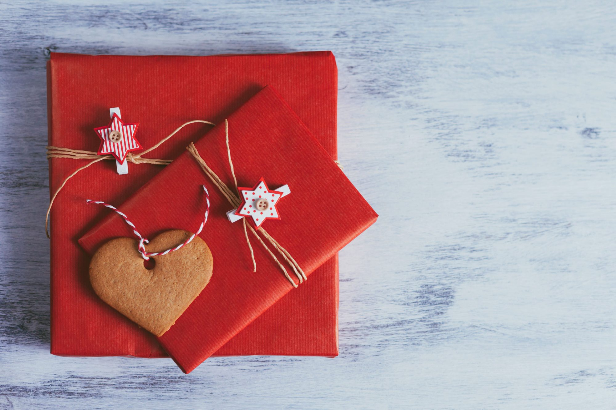 Red Paper Packages with String