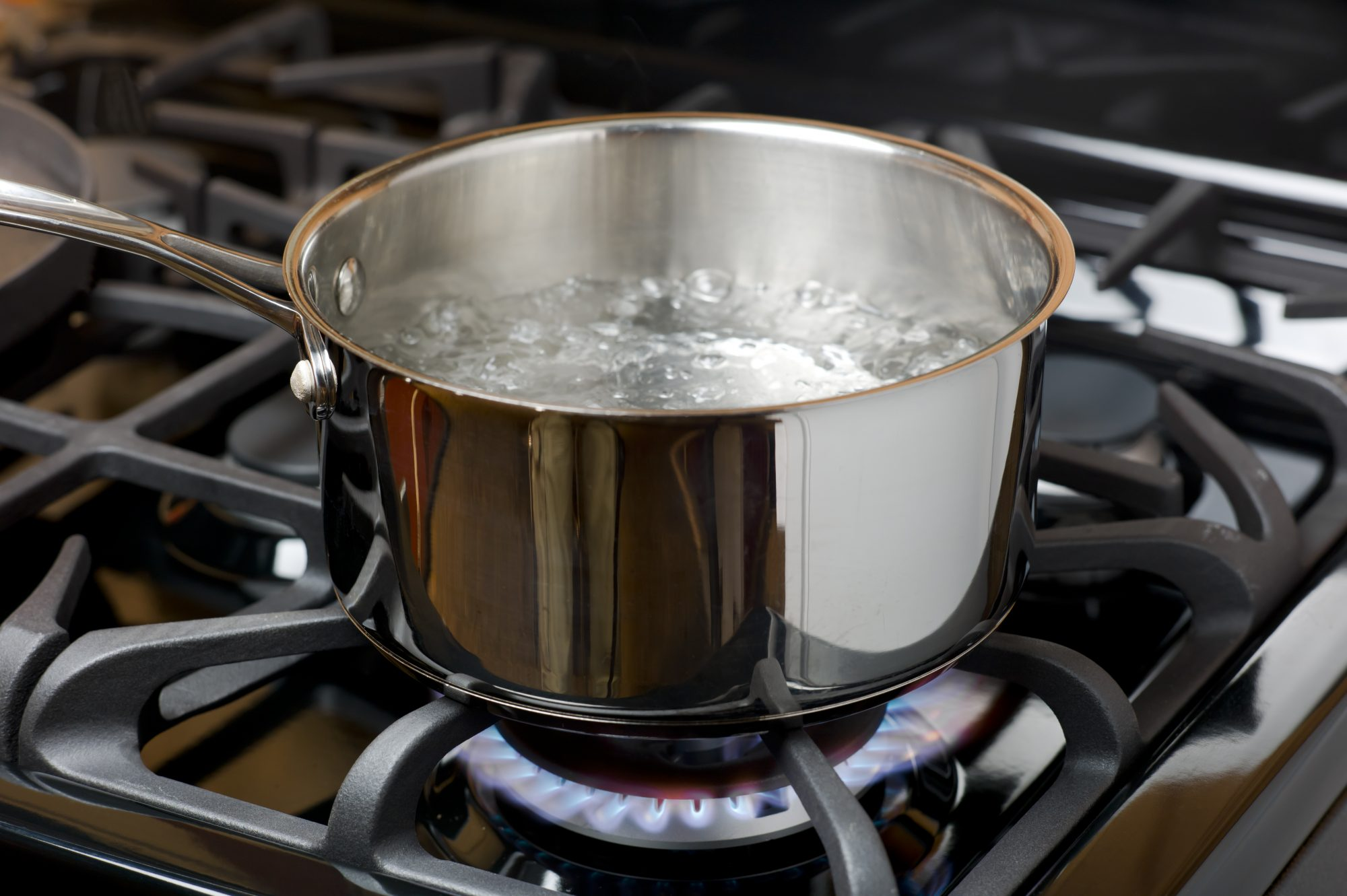 boiling water in a shiny saucepan