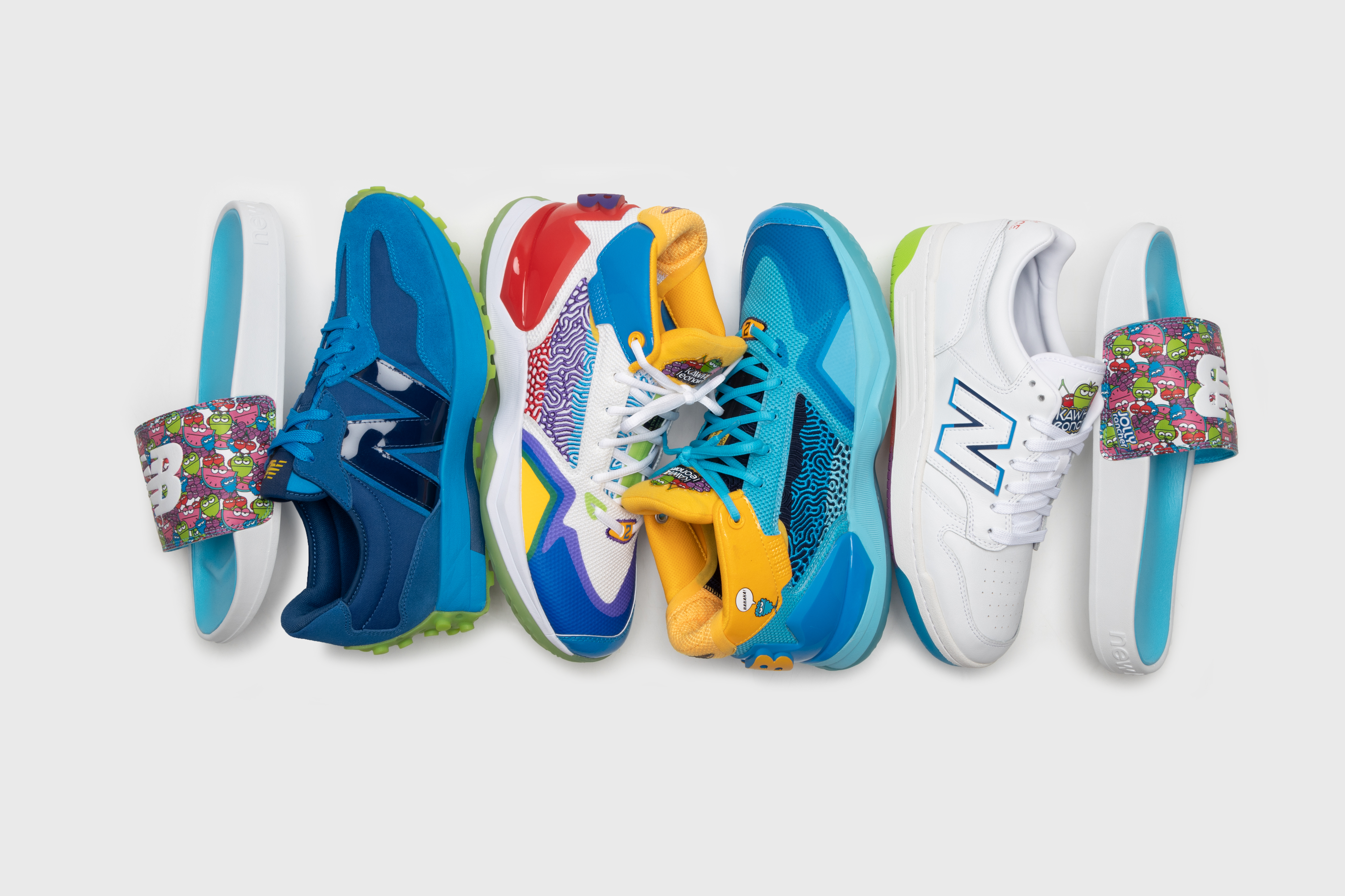 several shoes from the New Balance KAWHI Jolly Rancher collection on a white background