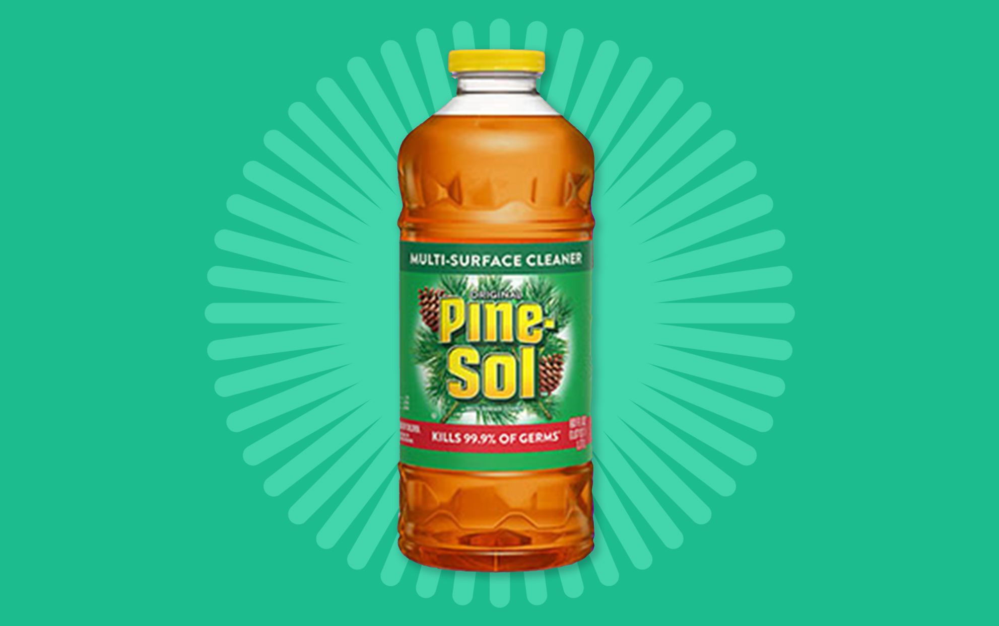 Bottle of Pine-Sol cleaner on a green background