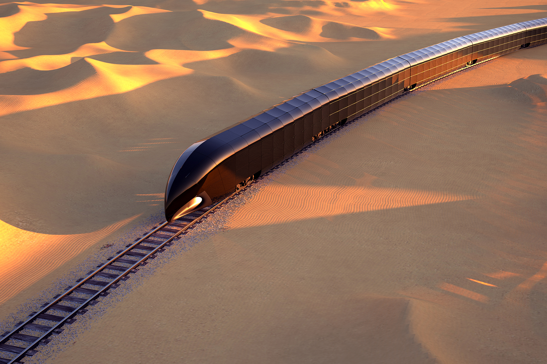 Aerial of the G Train in the desert