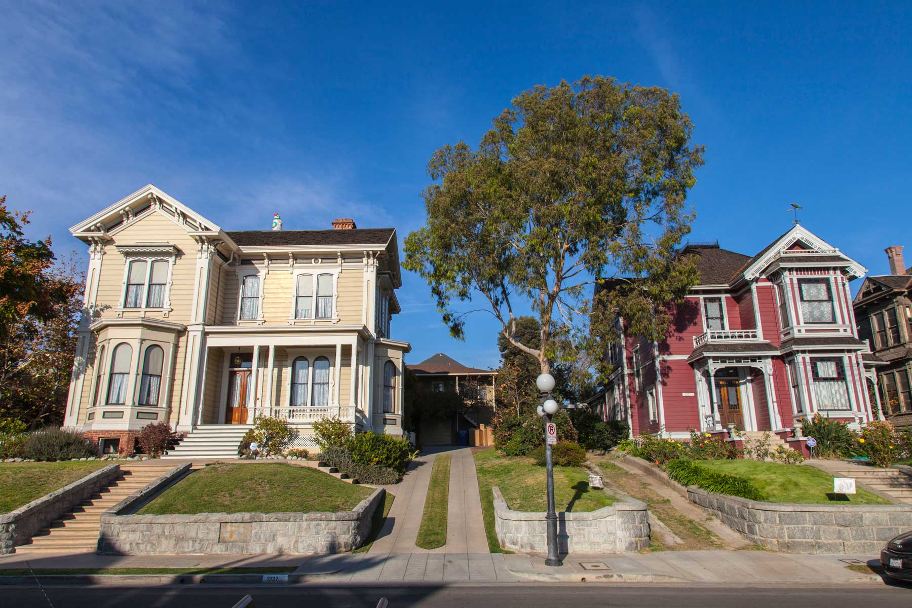 Victorian homes along Carroll Avenue in Angelino Heights in Los Angeles, California