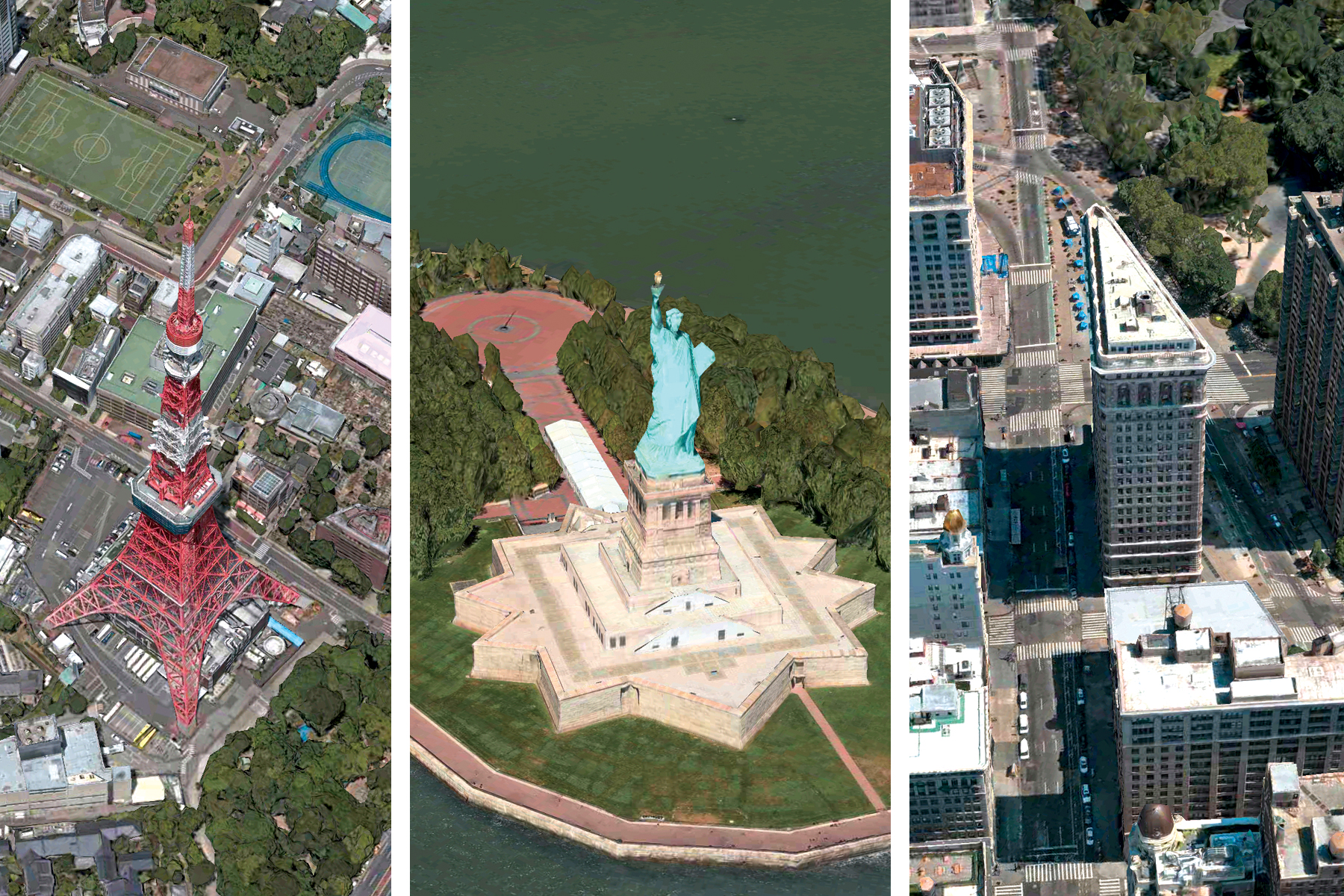 Tokyo Tower, Statue of Liberty and Flatiron Building seen using Apple Maps Flyover Tool