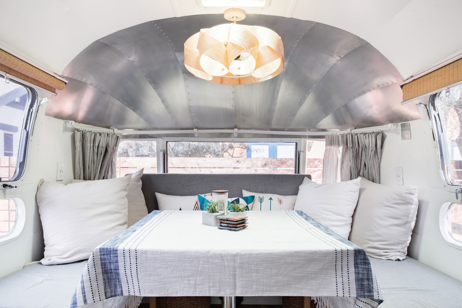 Table and seating in airstream trailer