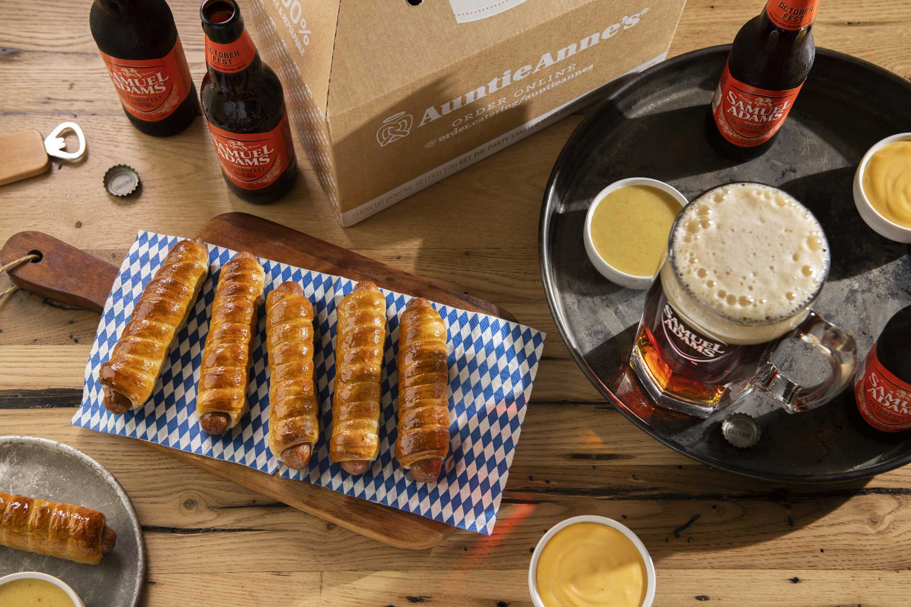 pretzels and beer on table