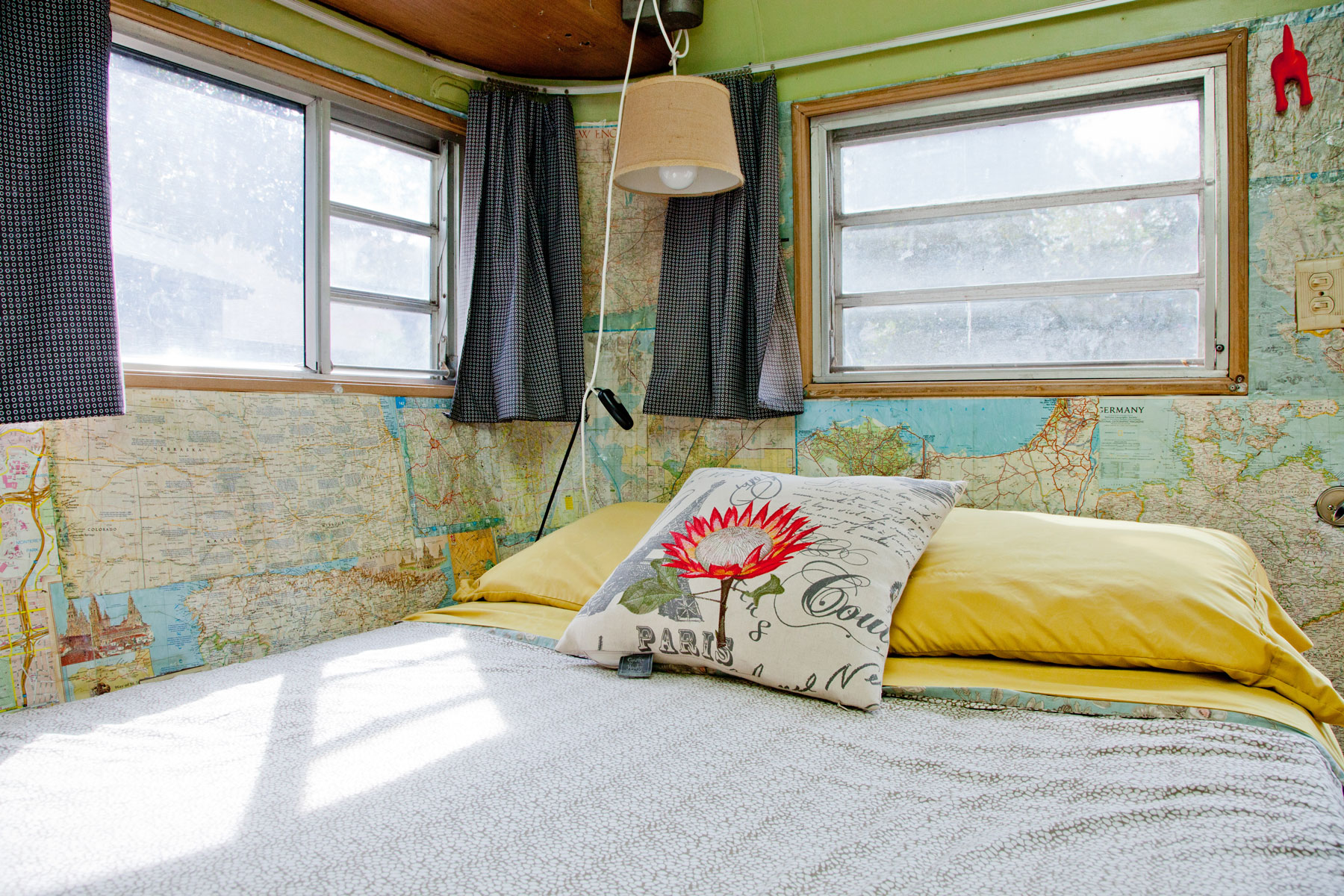Bed and bedroom in Airstream trailer