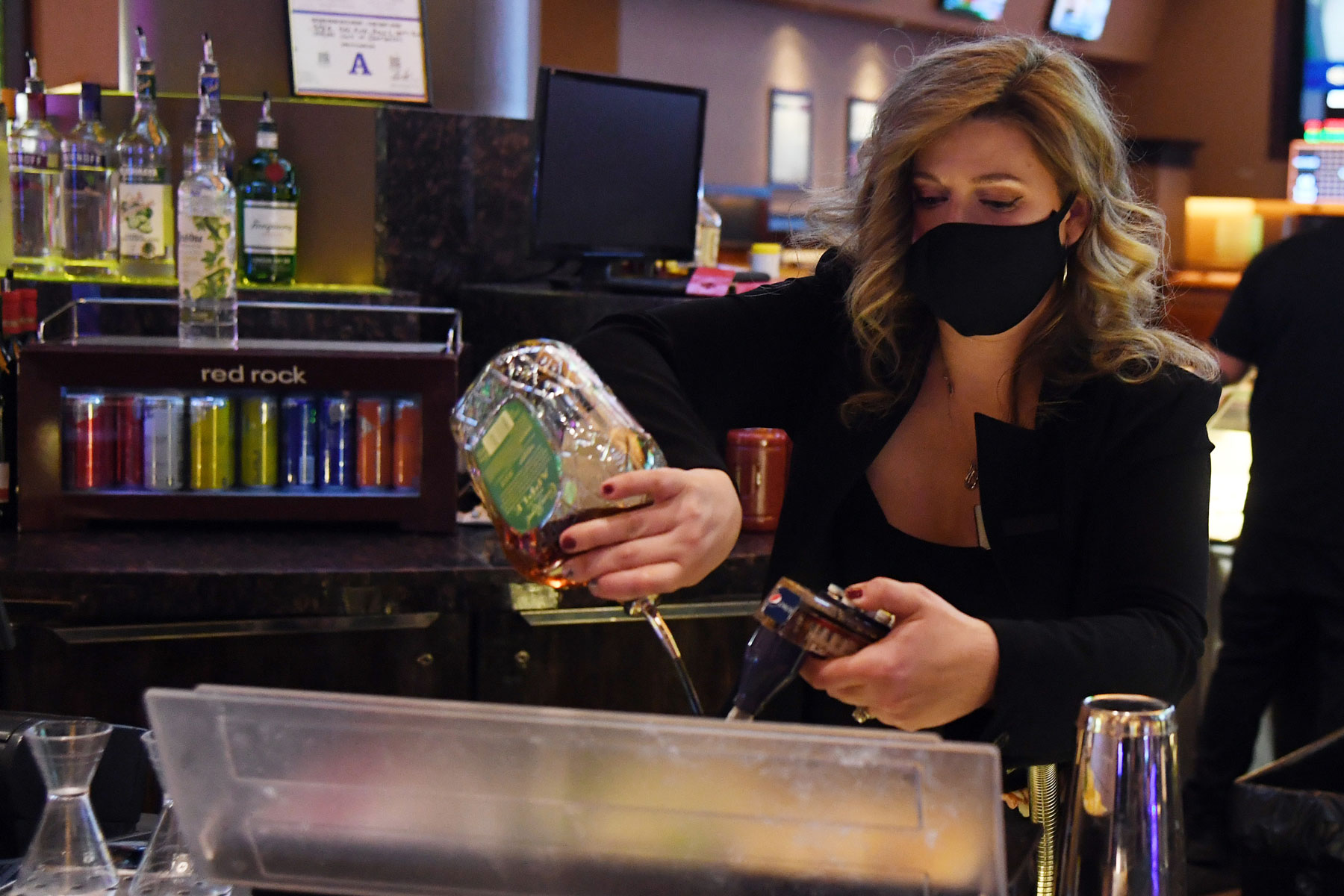 bartender wearing a face mask