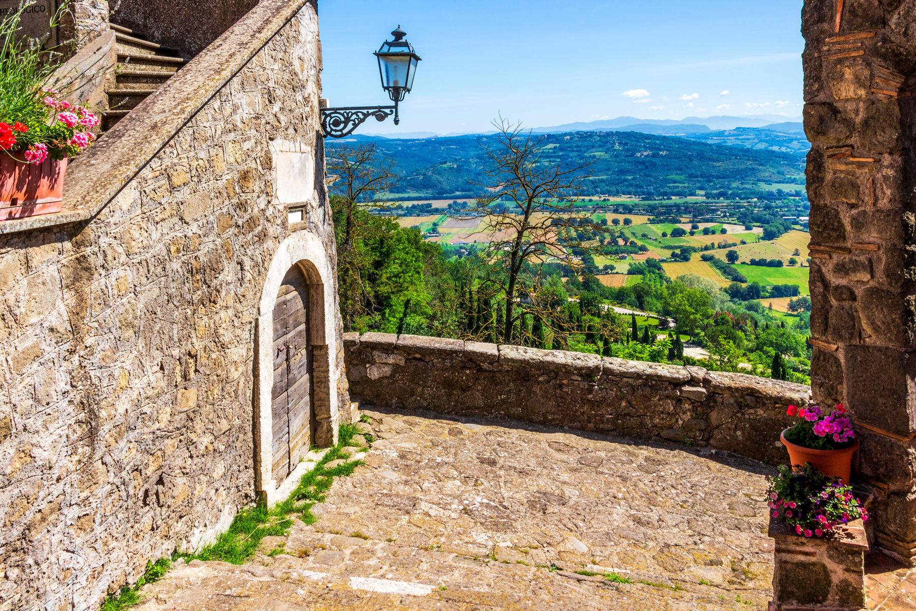 Bassano in Teverina, Province of Viterbo, Lazio, Italy, picturesque elevated landscape view from the medieval city walls