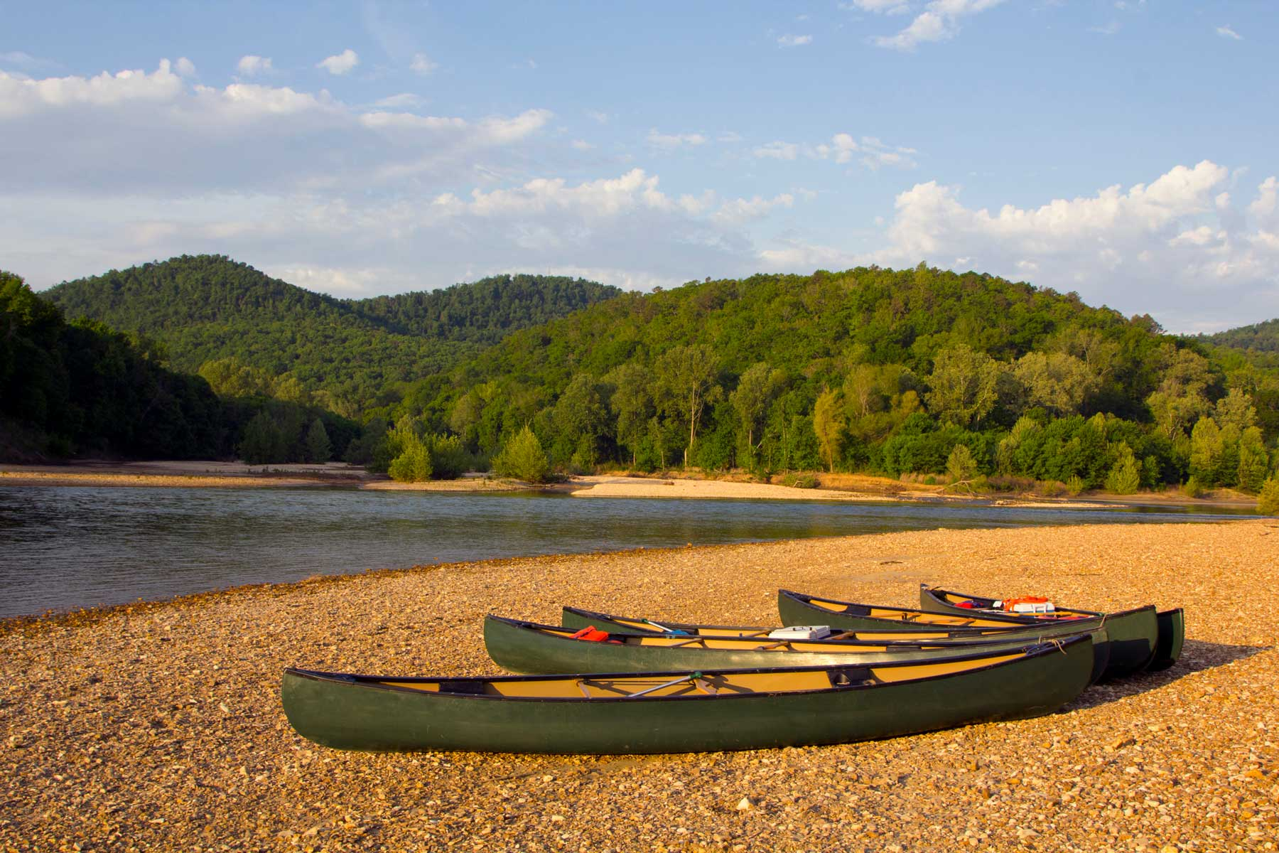 Canoes on the riverbank in Arkansas