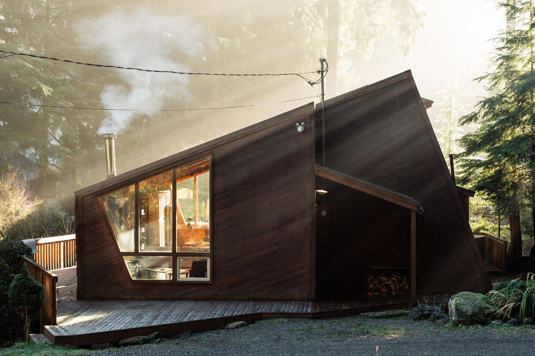 a sunlit cabin in the woods