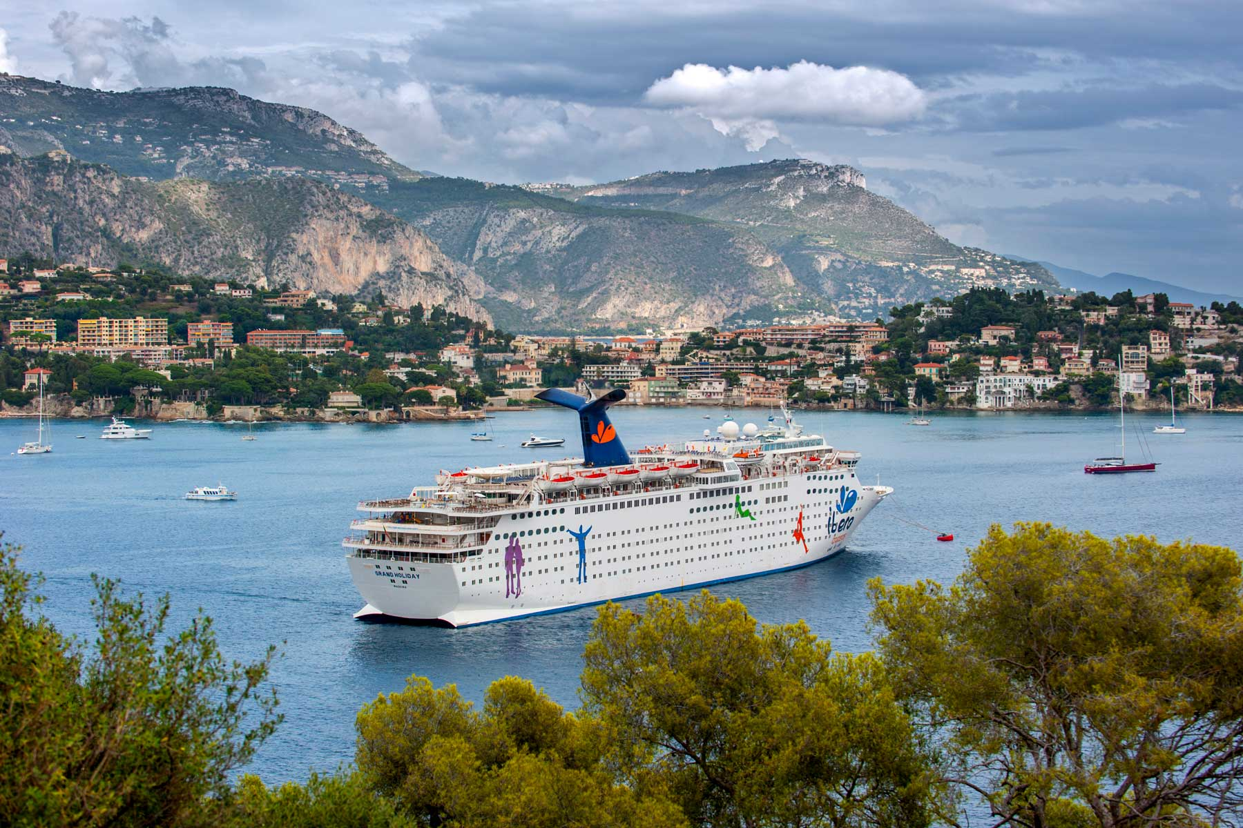 The cruise ship MS Grand Holiday of Carnival Cruise Lines docked in Nice along the French Riviera