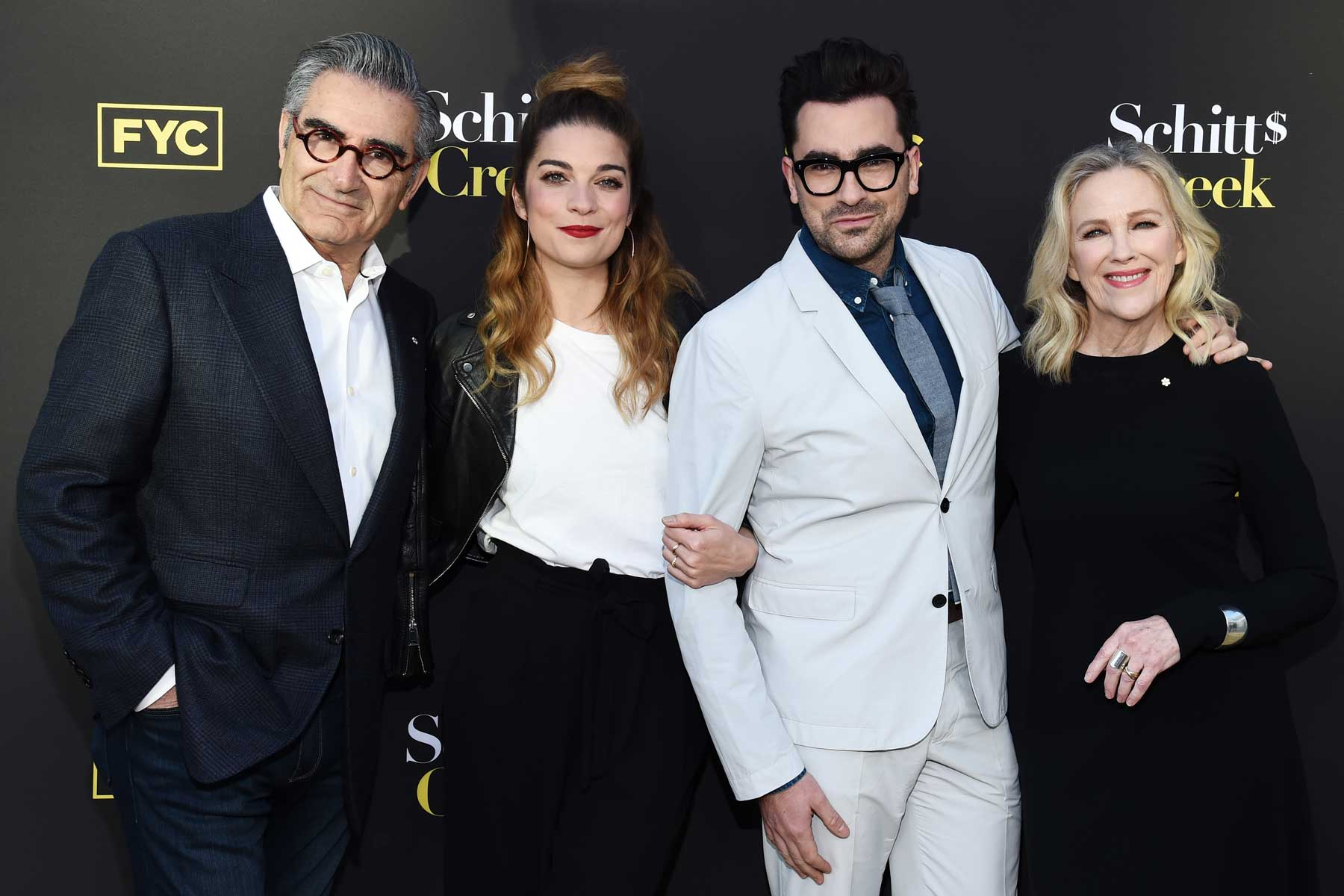 """Eugene Levy, Annie Murphy, Daniel Levy and Catherine O'Hara arrive at the FYC Screening of Pop TV's """"Schitt's Creek"""" at the Saban Media Center on May 30, 2019 in North Hollywood, California."""