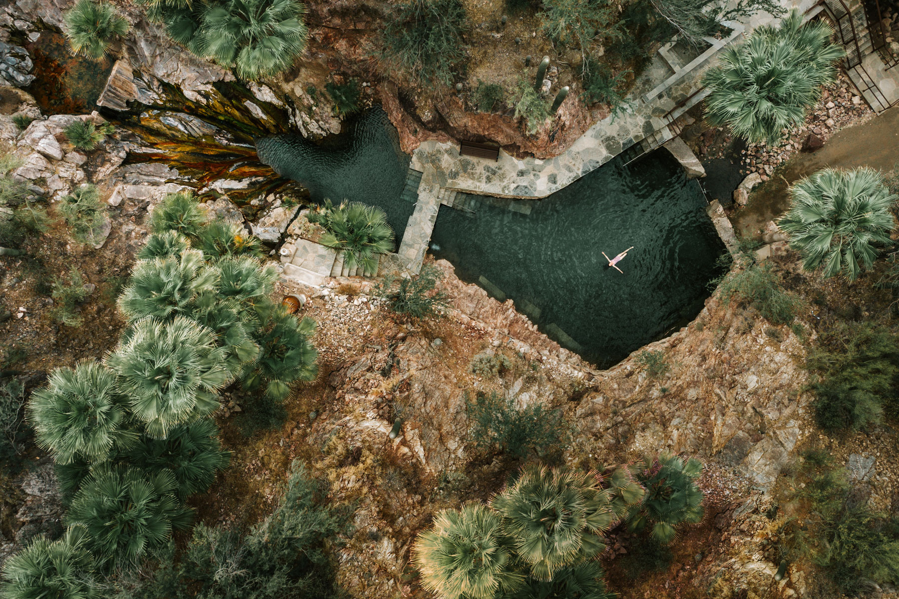 Aerial view of swimming hole
