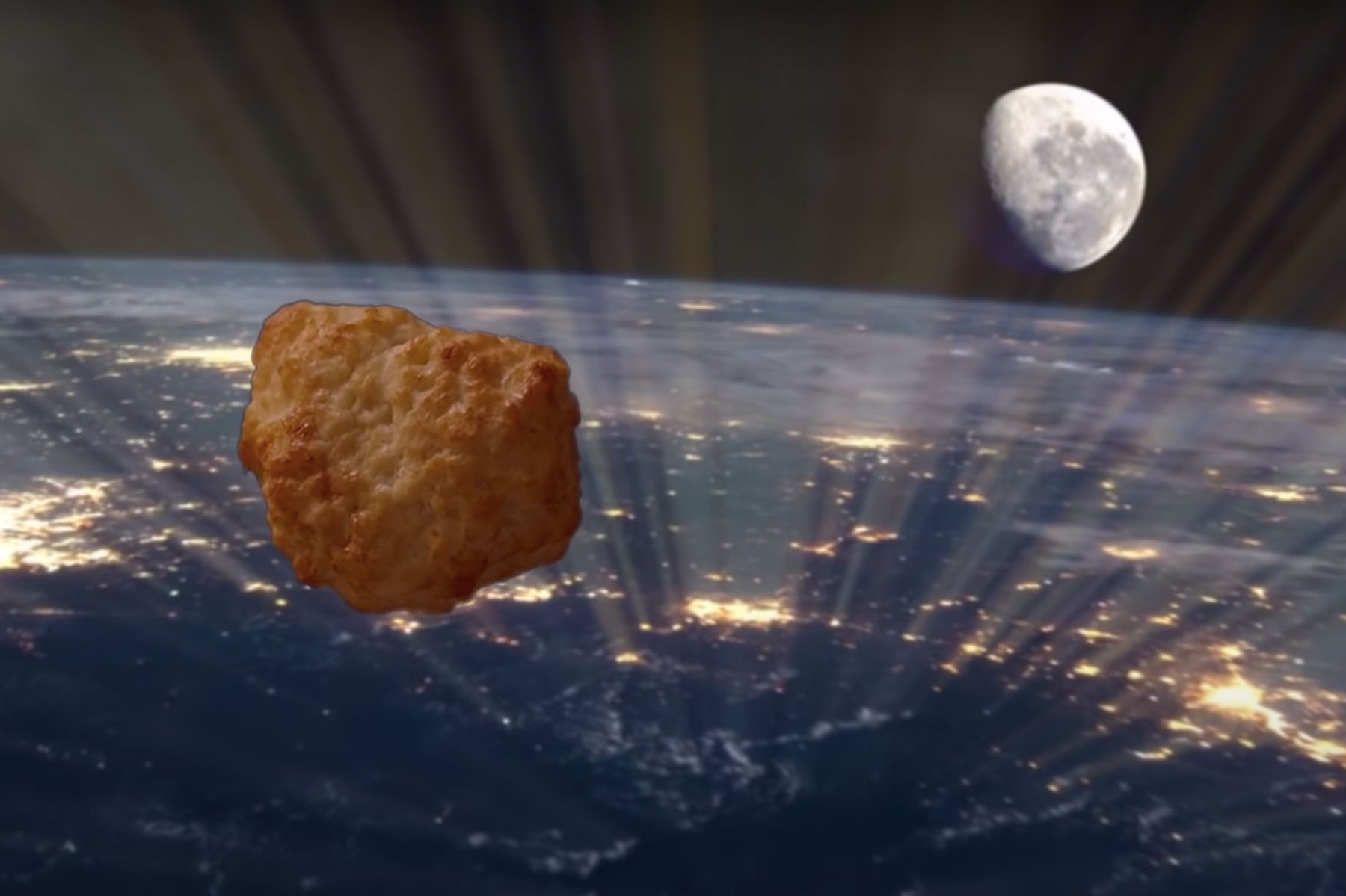 rendering of a chicken nugget floating in space