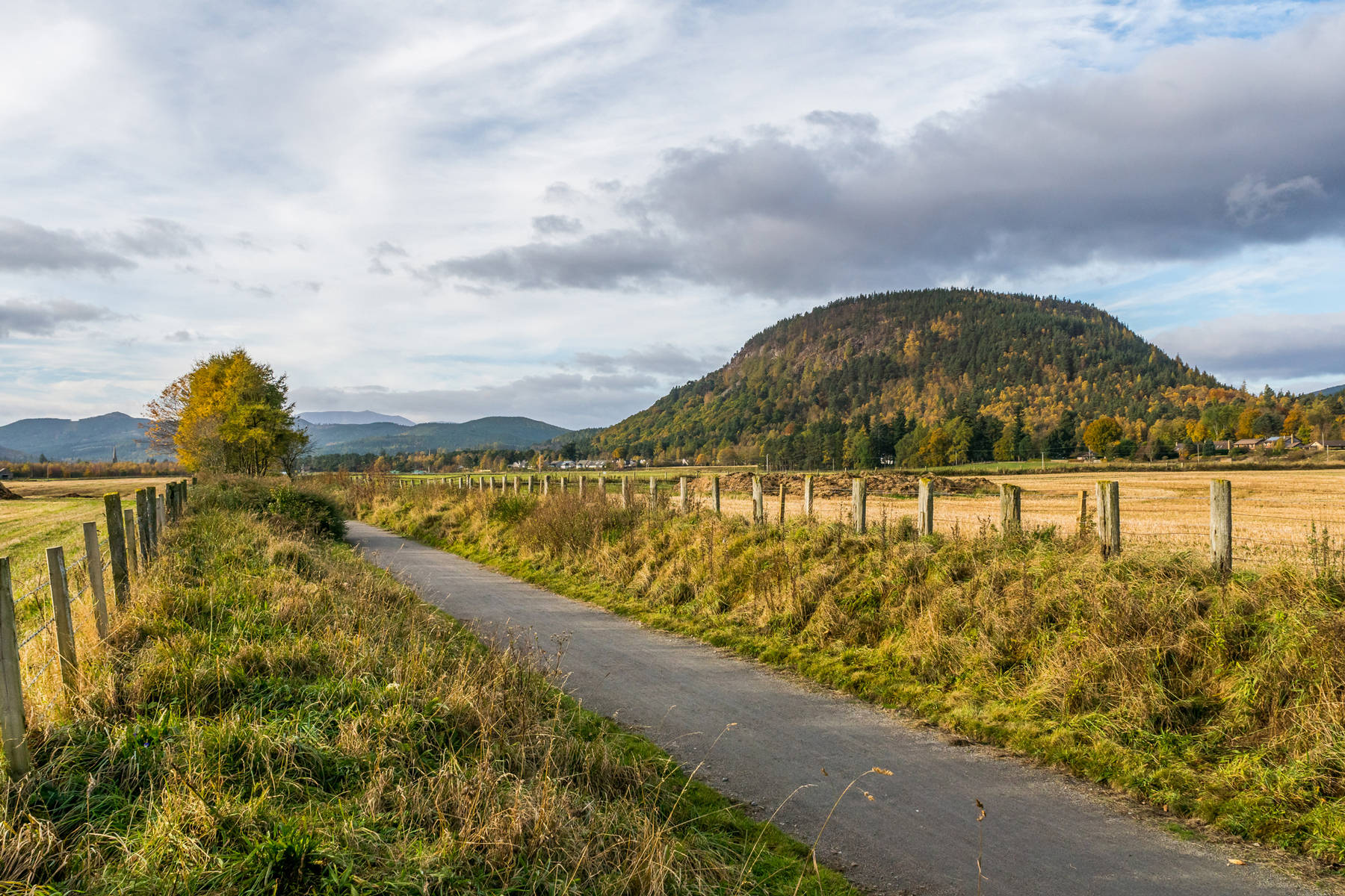 Deeside Way leading into Ballater with the hill Craigendarroch to he right.