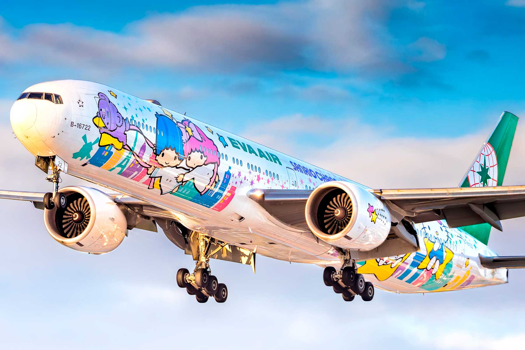 EVA Air Boeing 777-300ER Hello Kitty livery landing at Vancouver International Airport