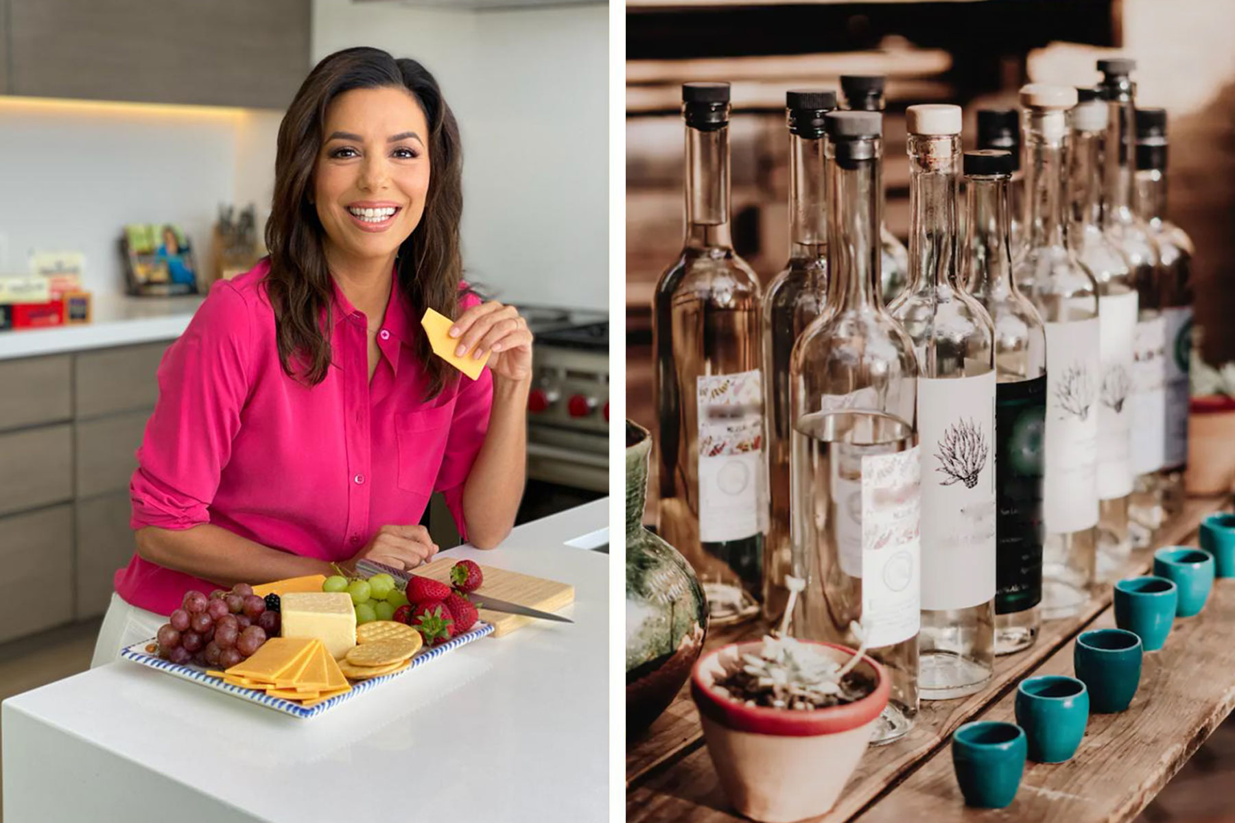 Left, Eva Longoria with cheese plate; Right, mezcal bottles and shot glasses on wooden table