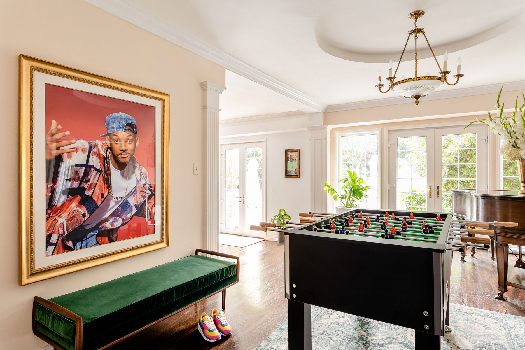Foozball table and portrait of Will Smith