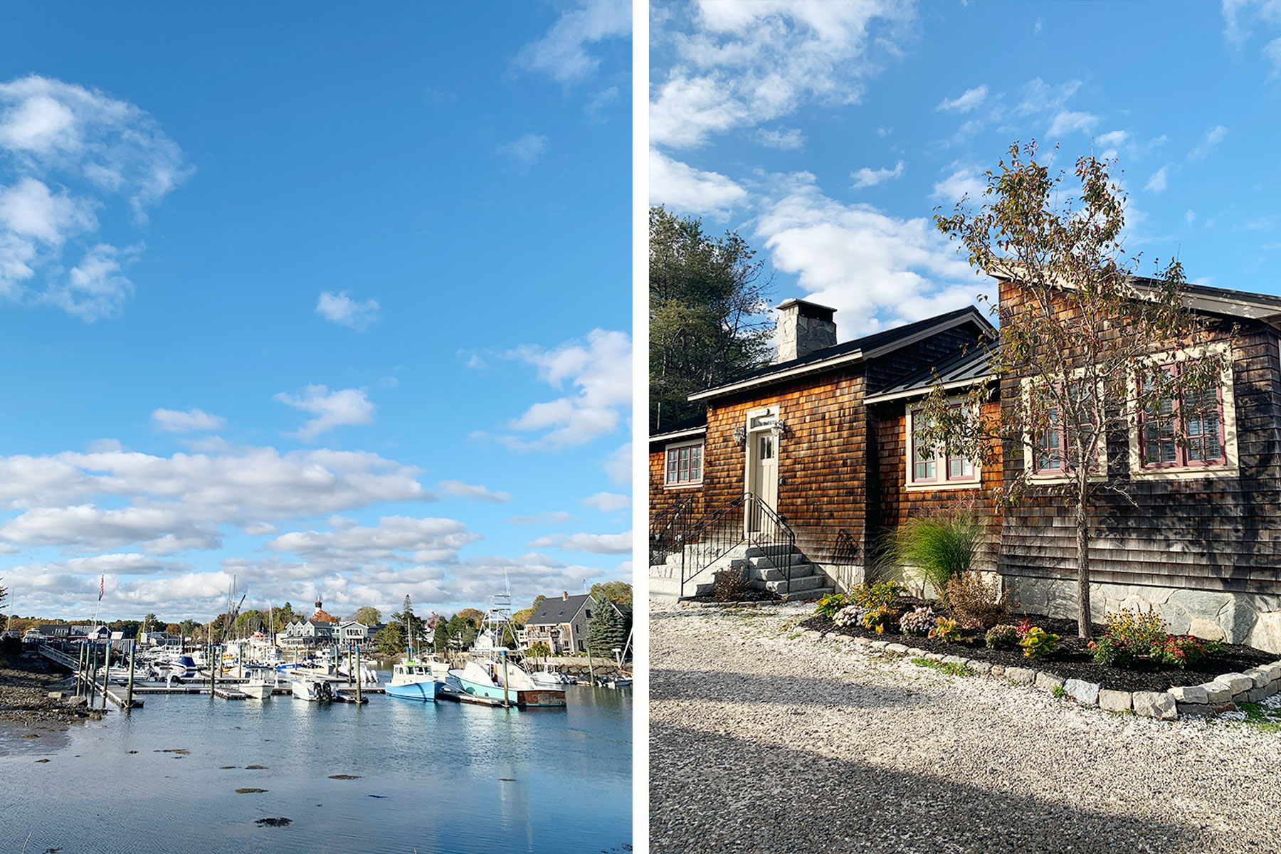 Left, boats in Kennebunk, Maine harbor; Right, exterior of Friendship Cottage