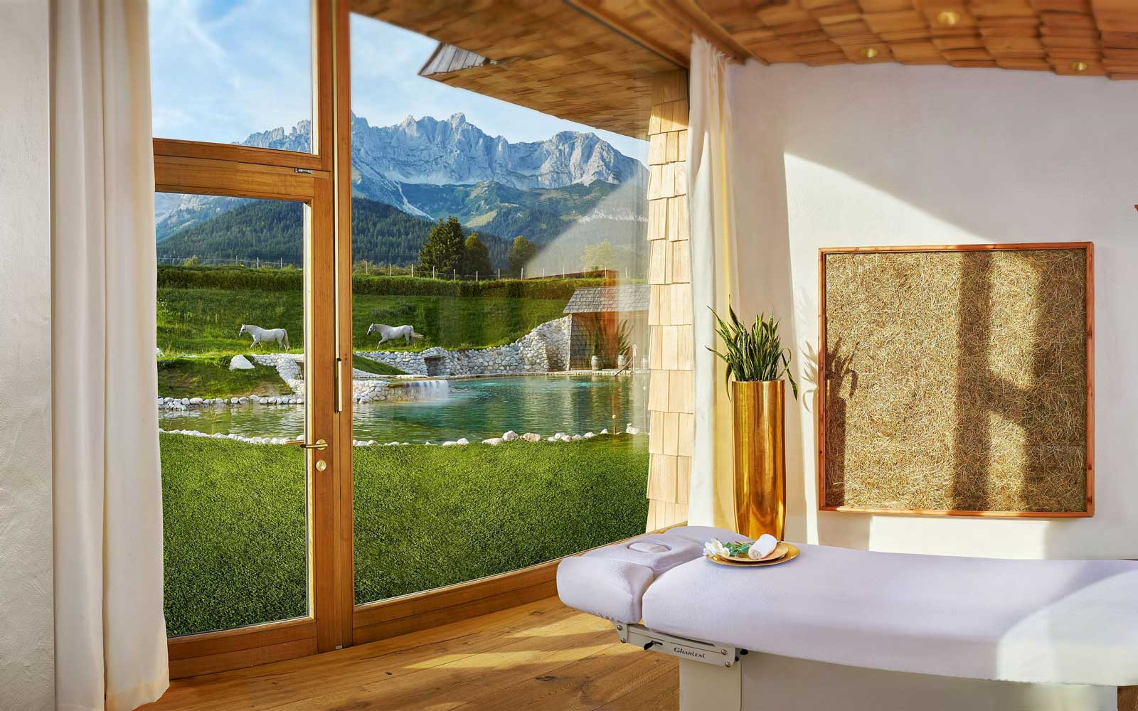 Window view from Green Spa Resort in Stanglwirt, Austria