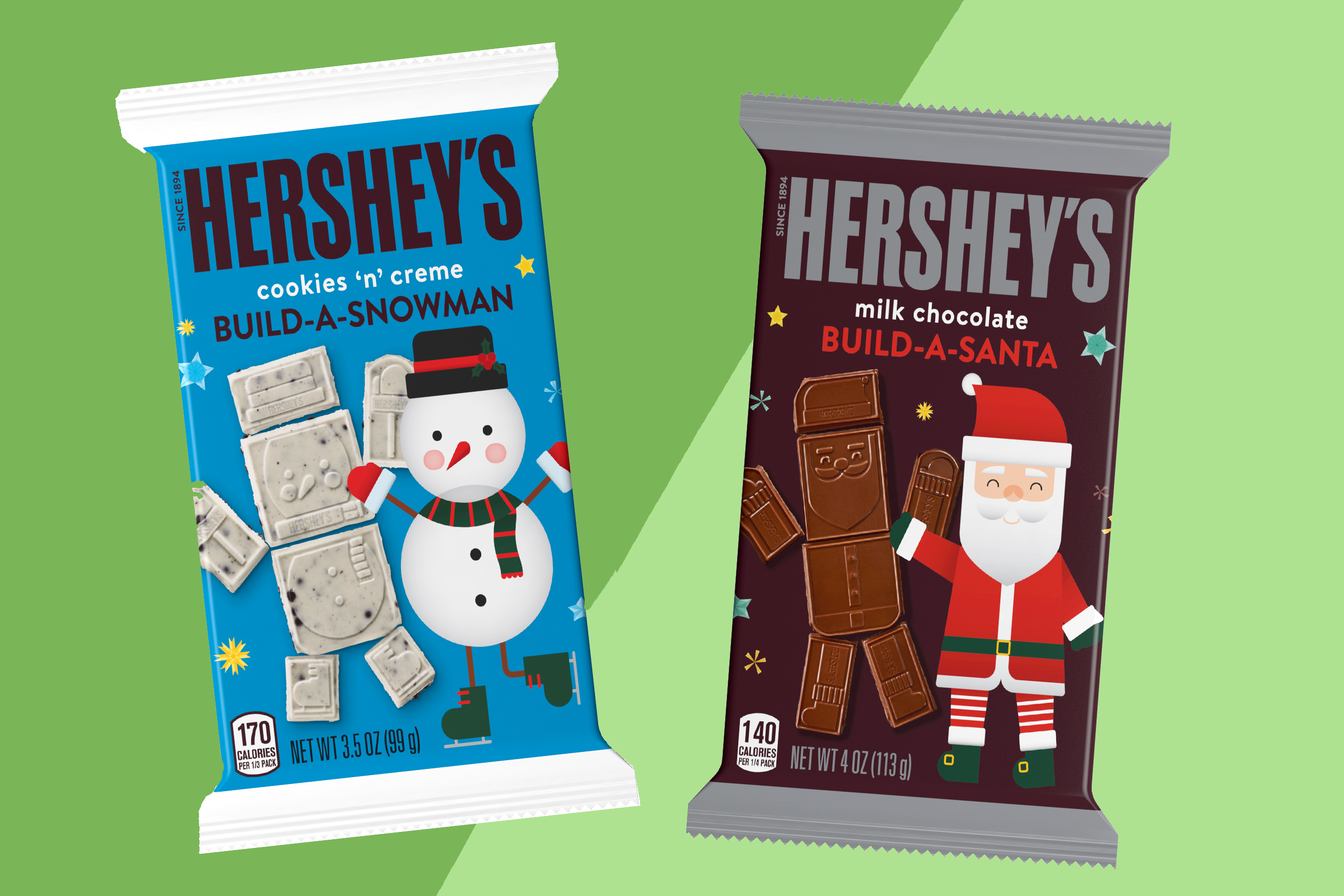 Hershey's Milk Chocolate Build-a-Santa and Hershey's Cookies 'N' Cream Build-a-Snowman