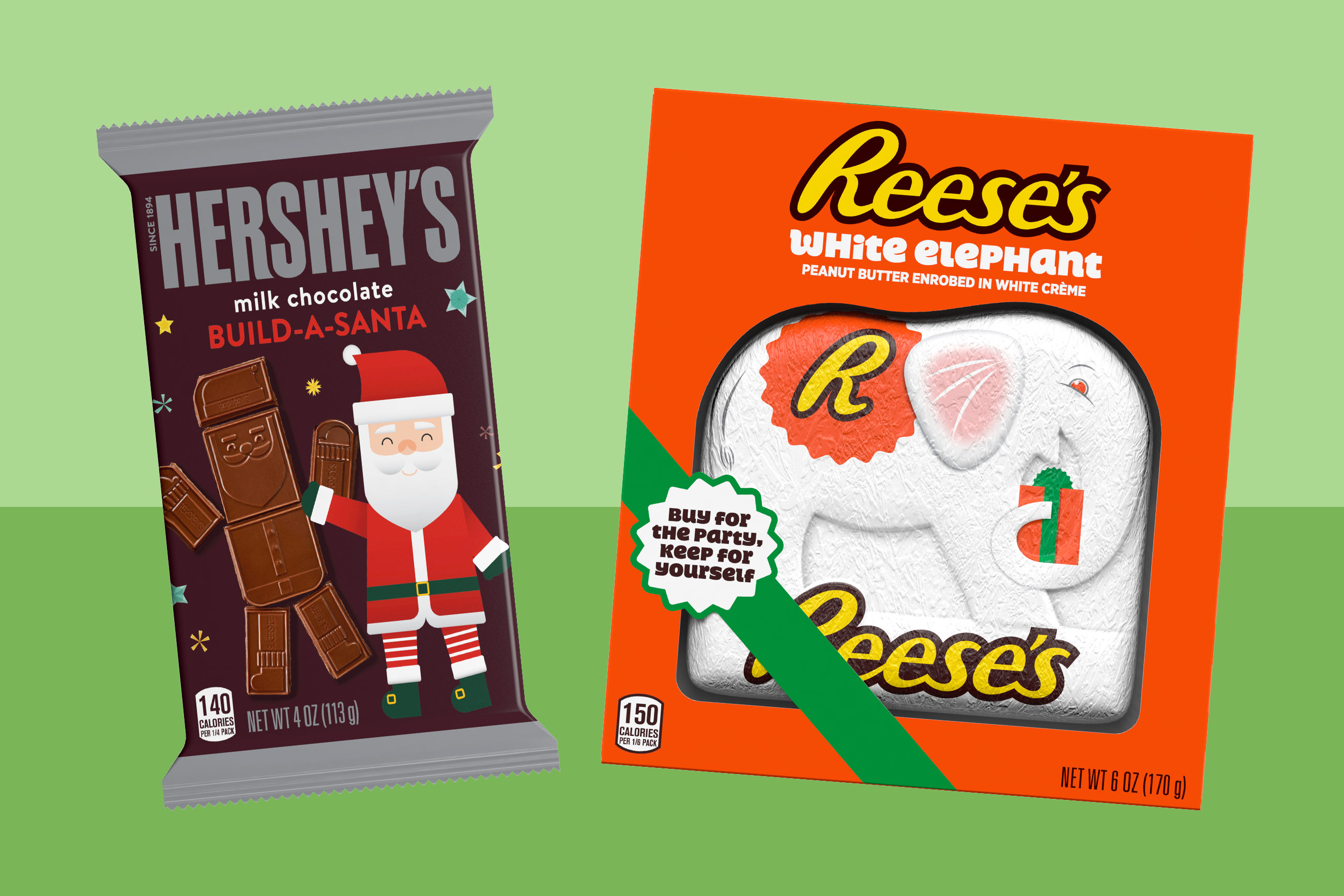 Hershey's Milk Chocolate Build-a-Santa and Reese's White Elephant on a two-tone green background