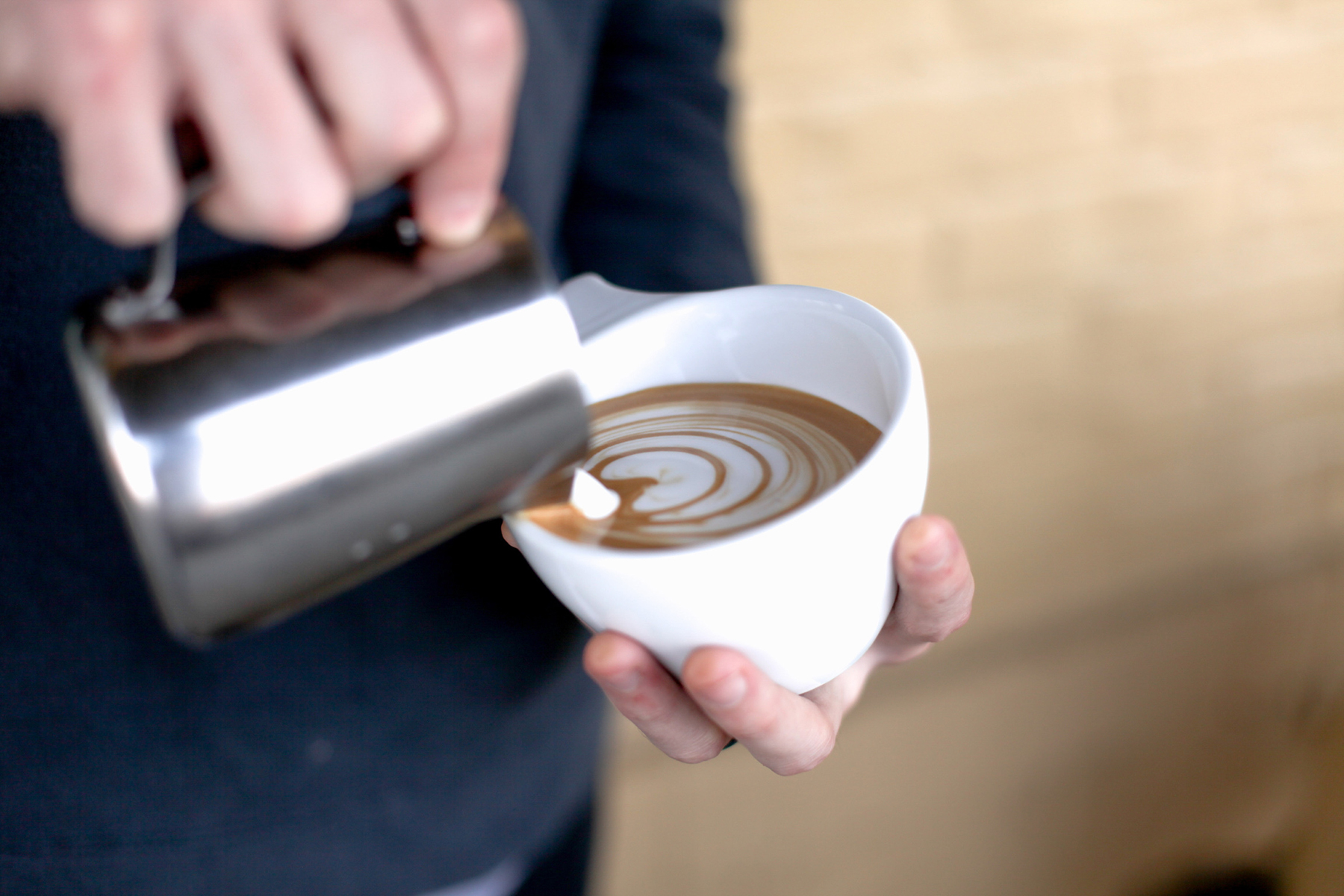 A fresh pour of coffee at High Brow Coffee Shop along the Coffee Trail in Franklin, Tennessee
