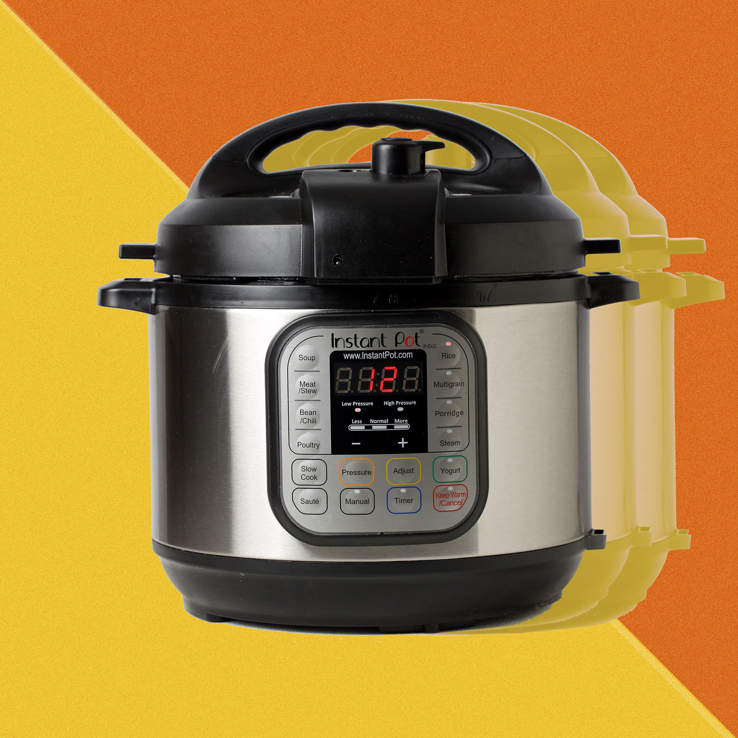 Instant Pot against an orange geometric background