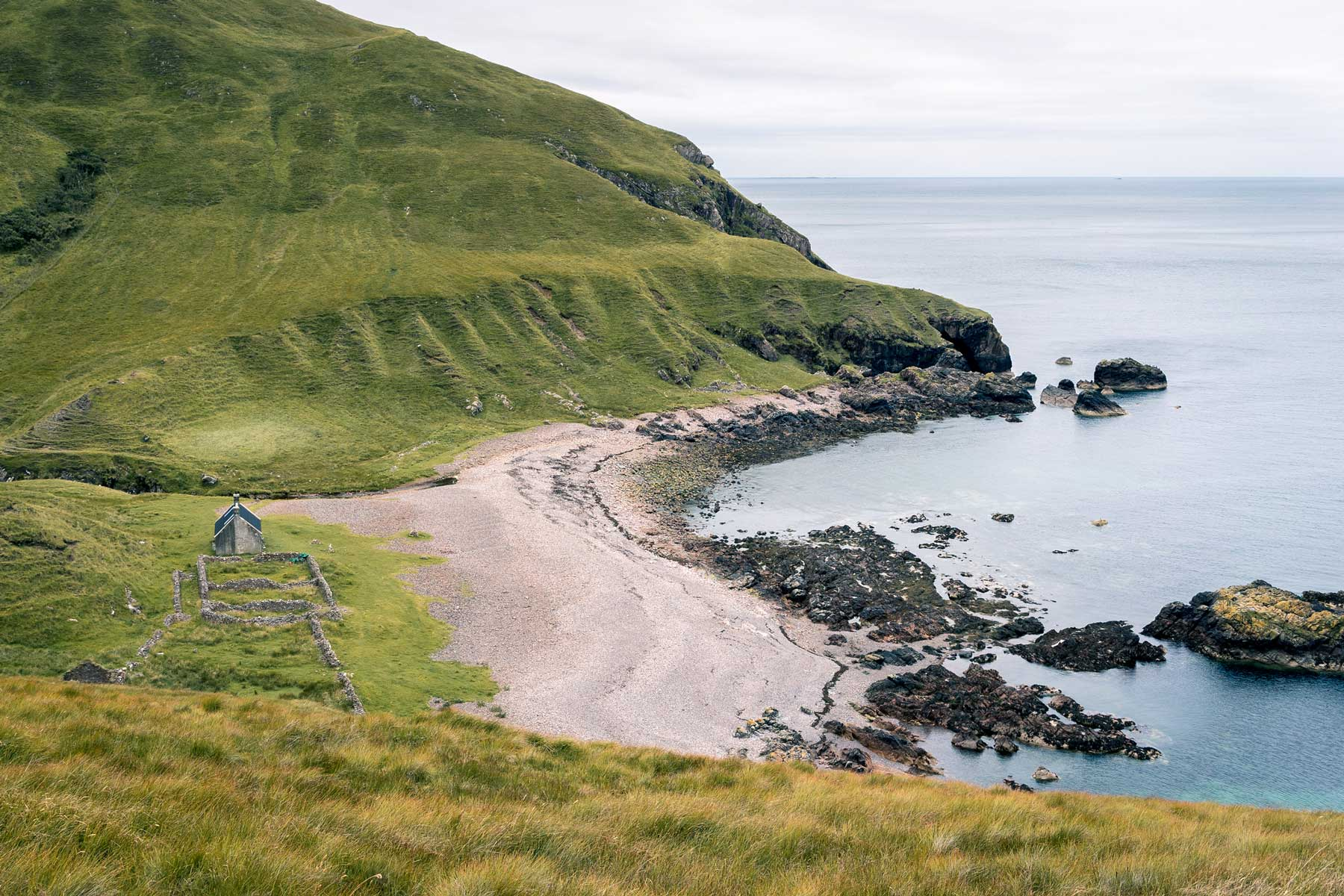 The Guirdil bothy at the western coastline of the Isle of Rum, a small island at the West Coast of Scotland